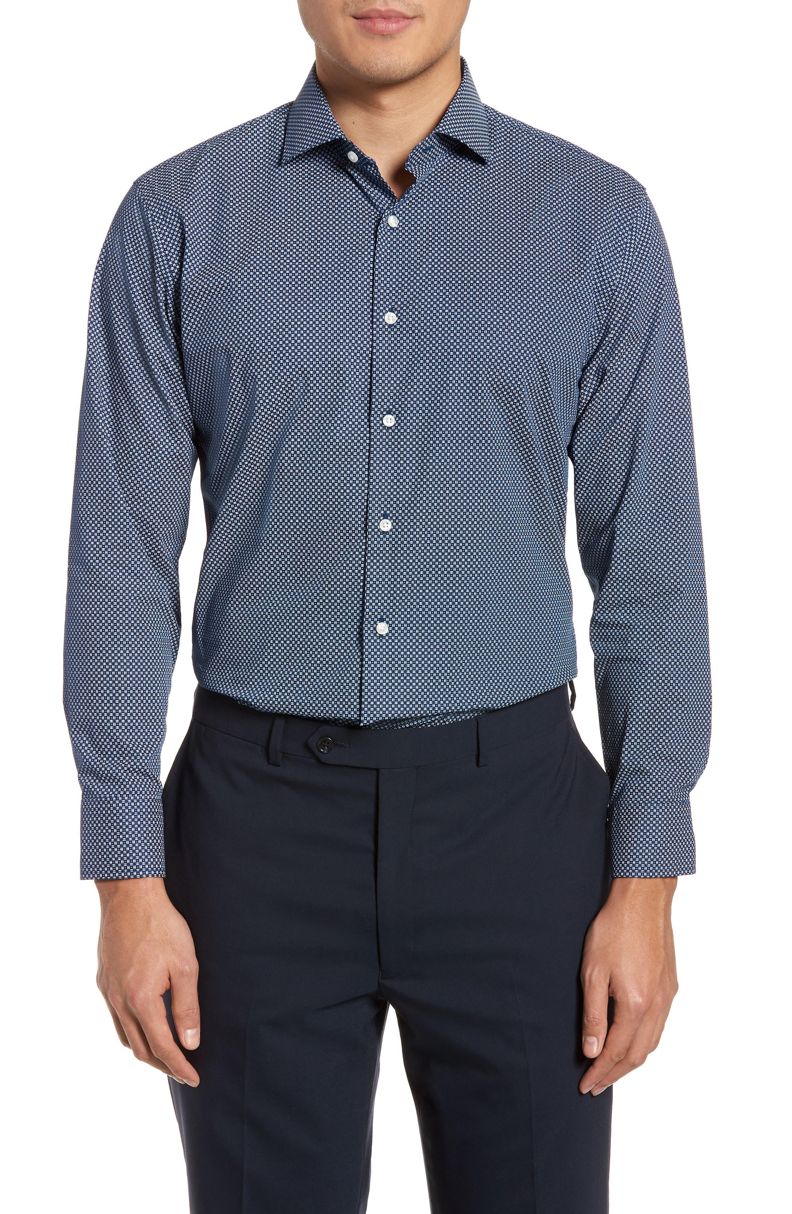 Trim Fit Dress Shirt,                             Main thumbnail 1, color,                             Navy Night