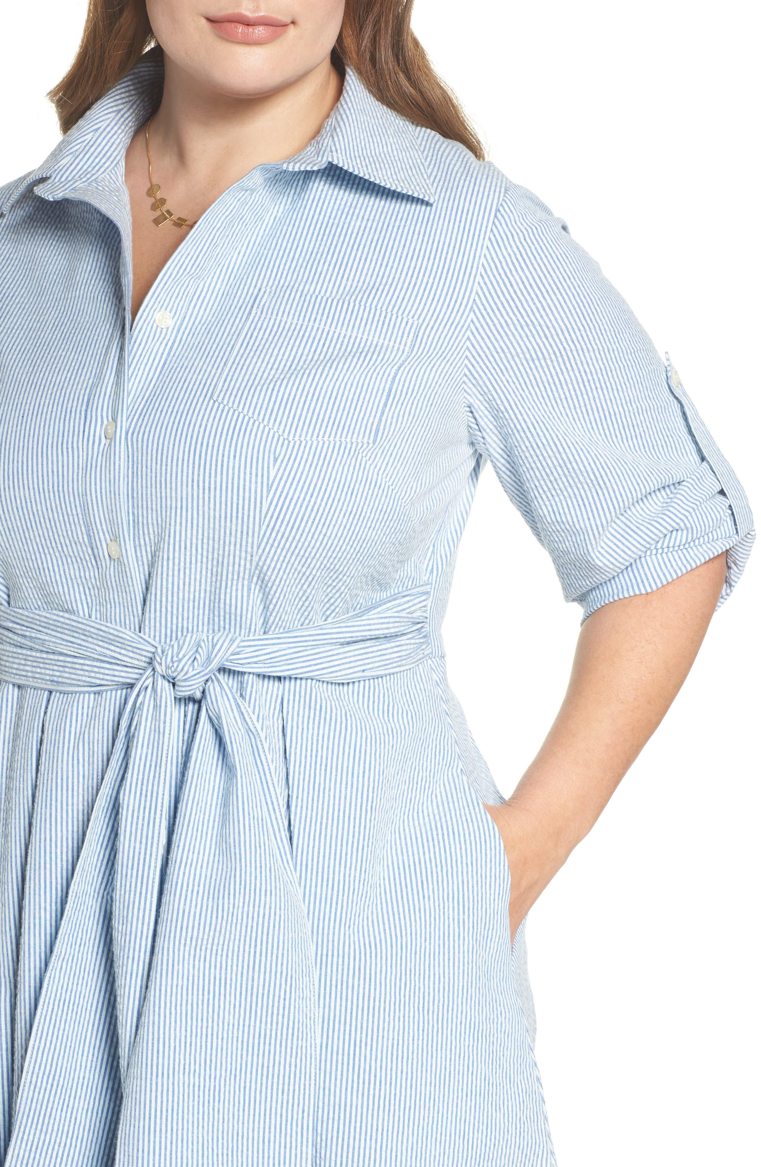 Seersucker Shirtdress,                             Alternate thumbnail 4, color,                             Blue Seersucker