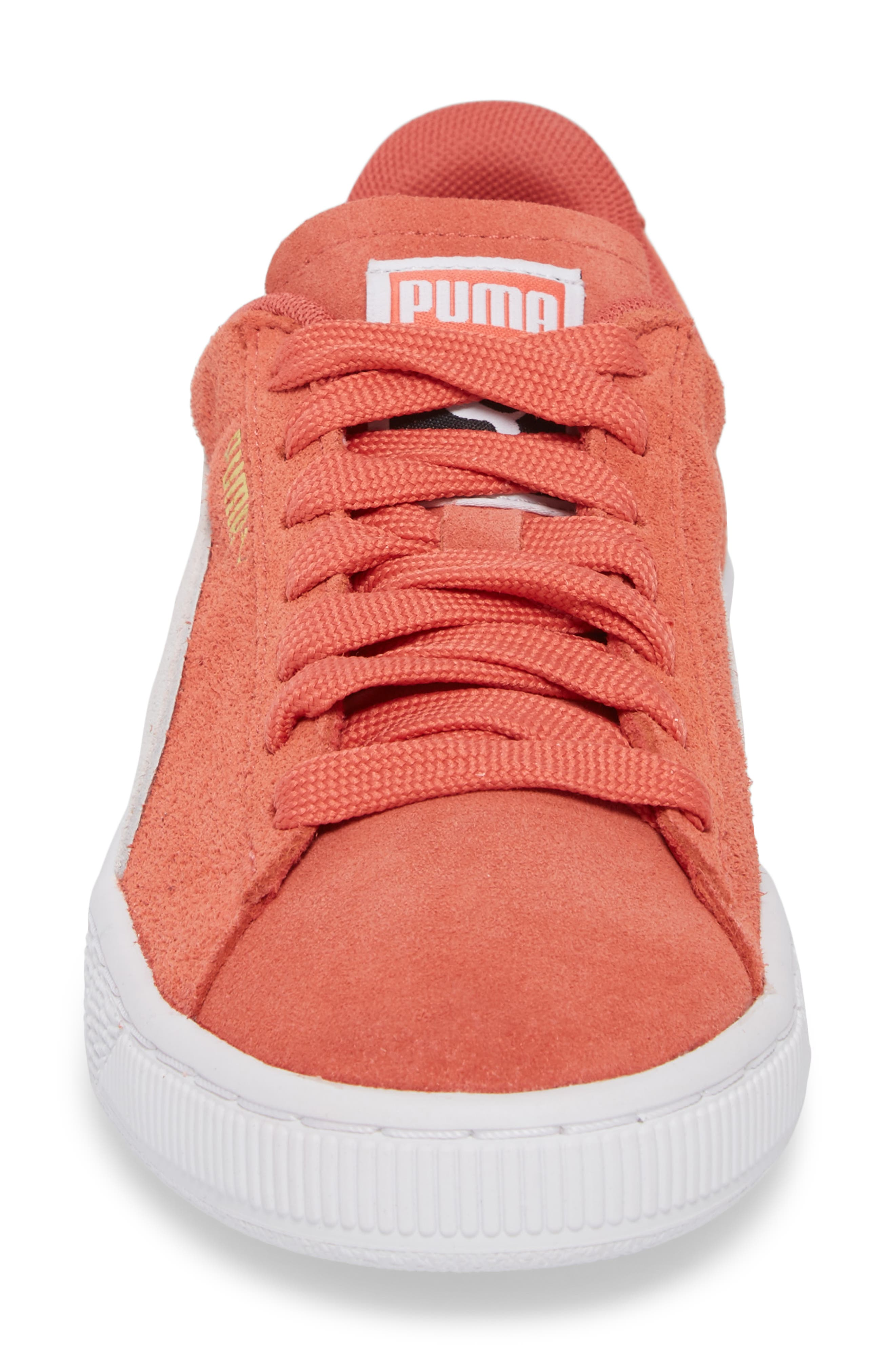 Suede Sneaker,                             Alternate thumbnail 3, color,                             Spiced Coral/ Puma White