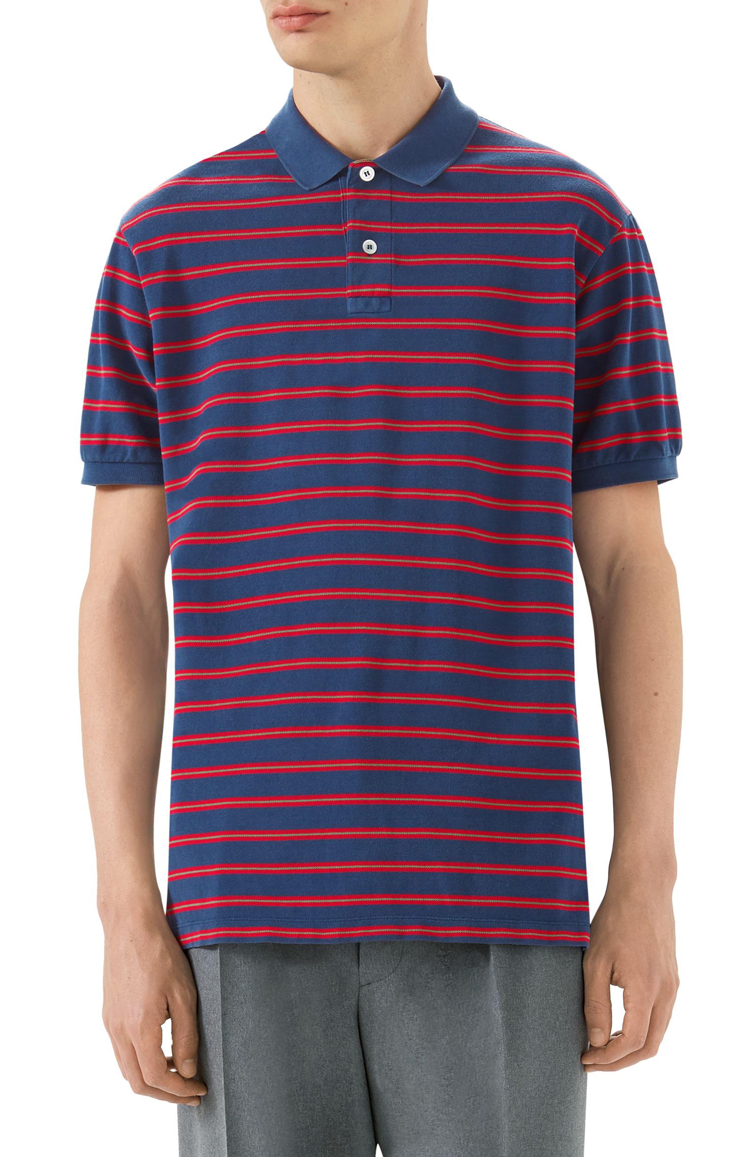 Oversized Stripe Polo,                         Main,                         color, Inchiostro/Red