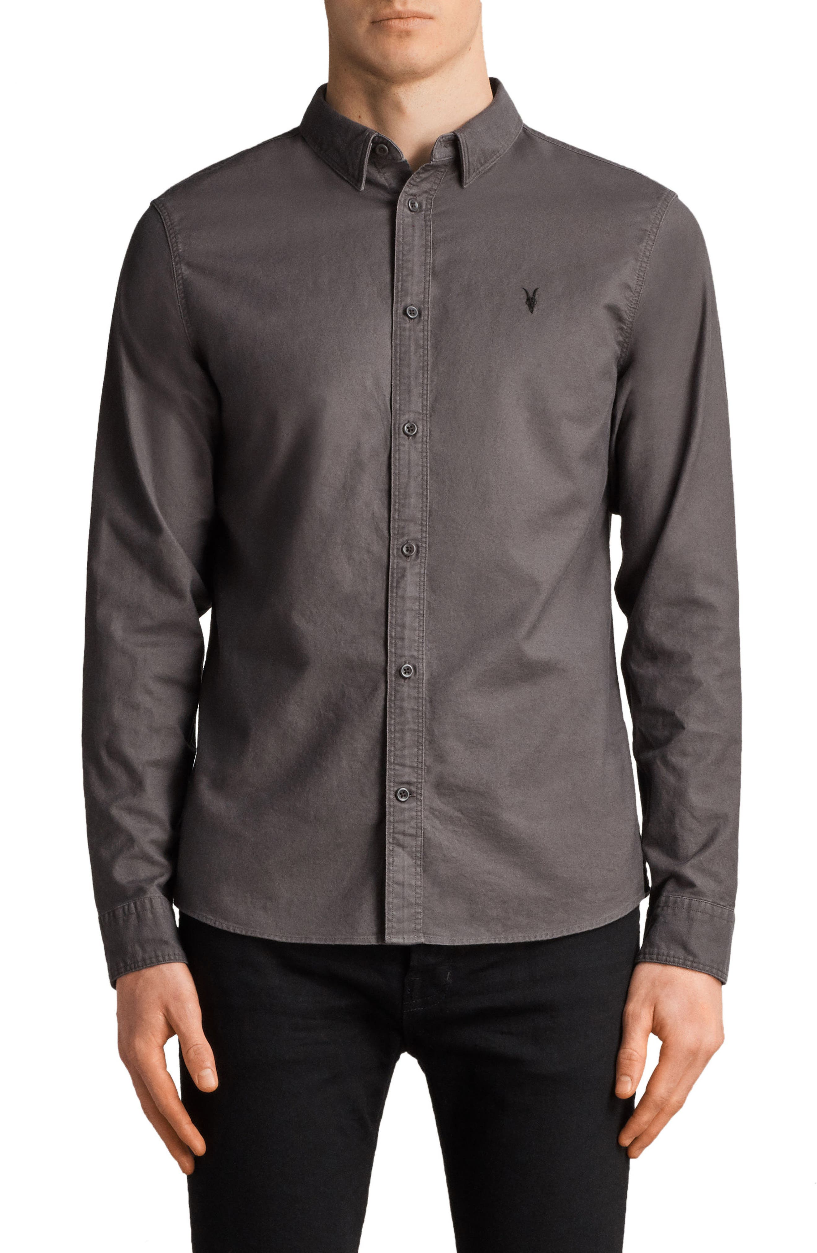 Huntington Regular Fit Sport Shirt,                             Main thumbnail 1, color,                             Heath Grey