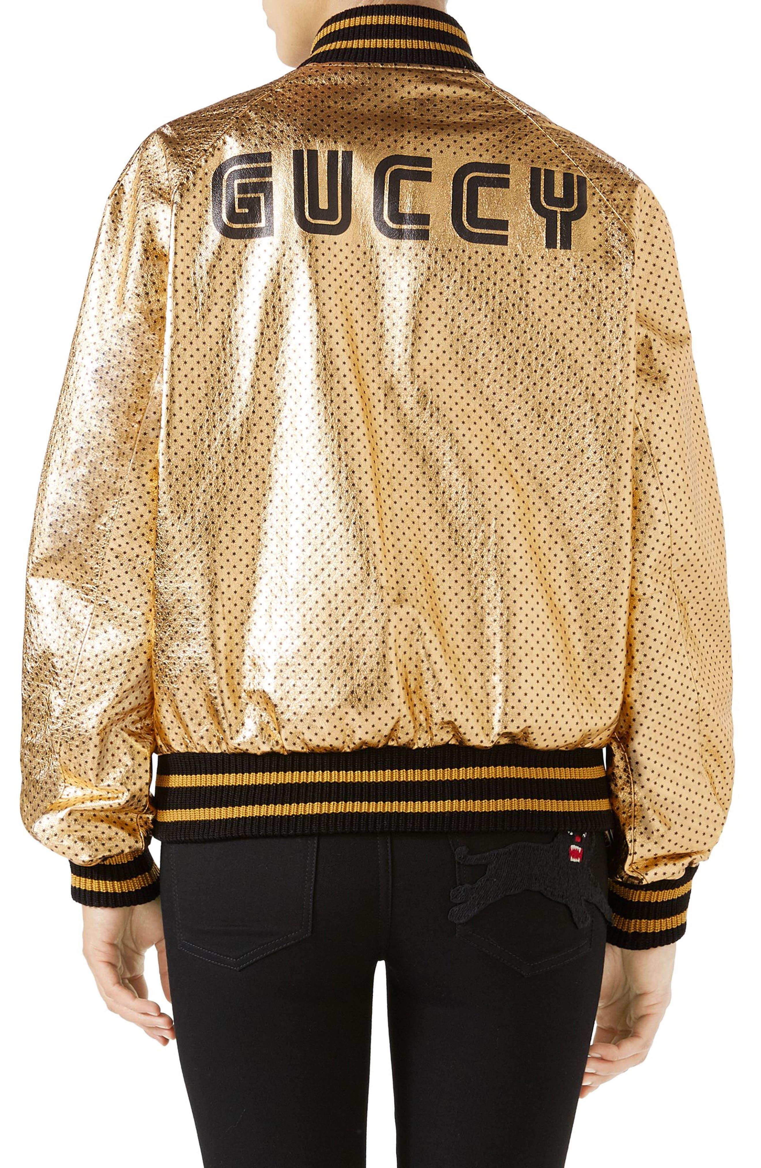 Metallic Perforated Leather Bomber Jacket,                             Alternate thumbnail 2, color,                             Gold/ Black