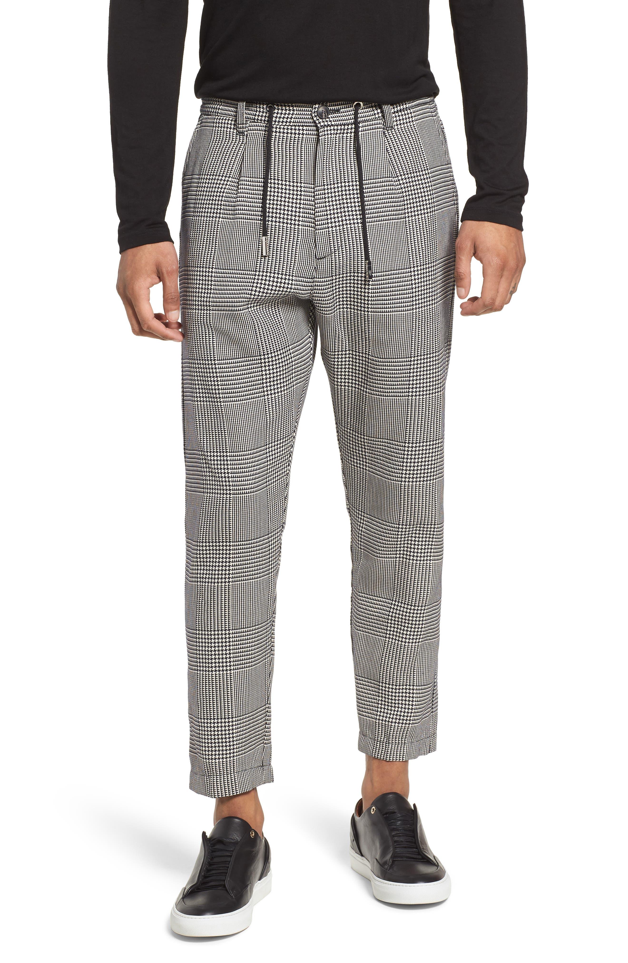 Prince of Wales Check Jogger Pants,                         Main,                         color, Blk/White