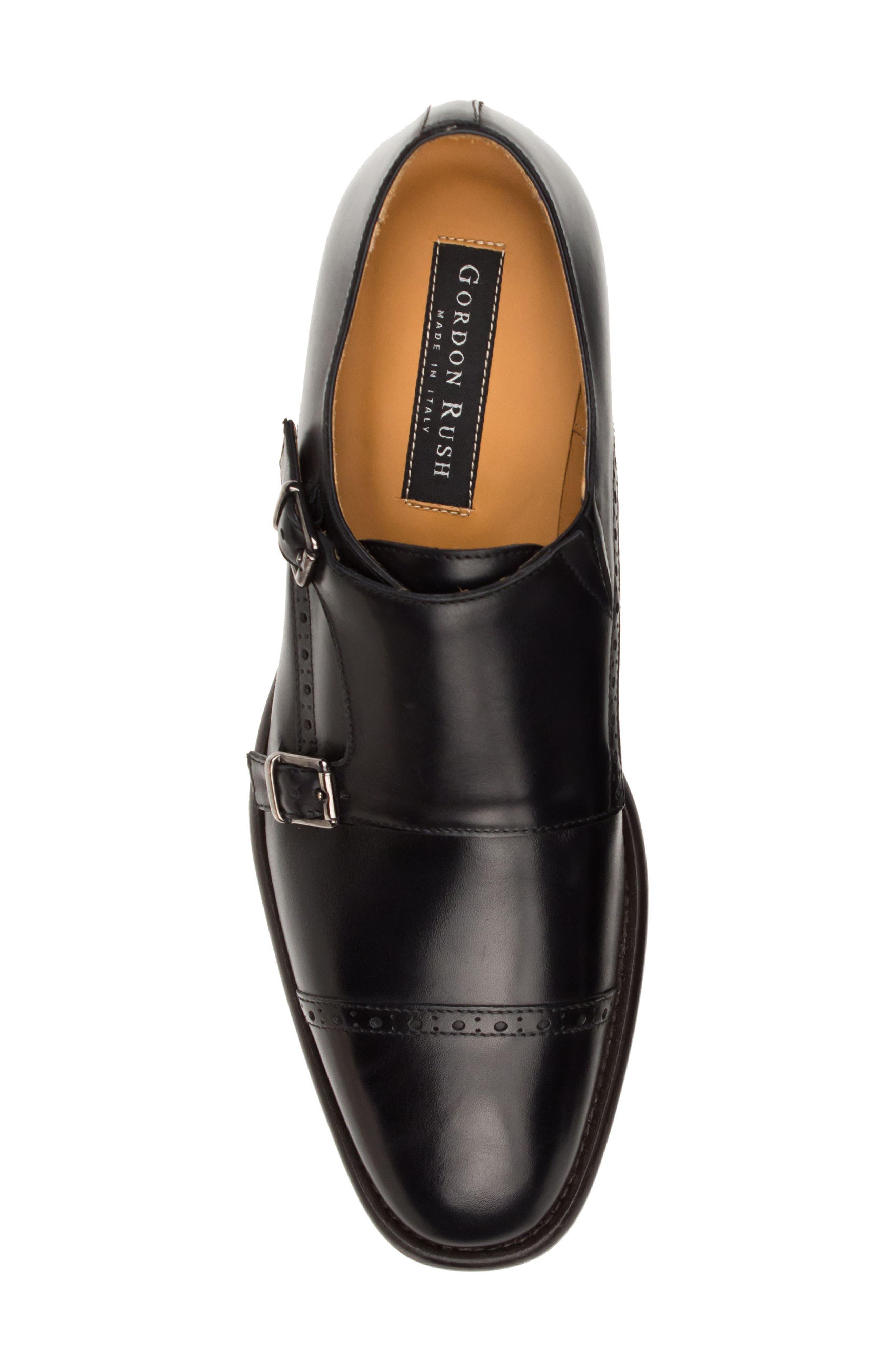 Corbett Cap Toe Double Strap Monk Shoe,                             Alternate thumbnail 5, color,                             Black Leather