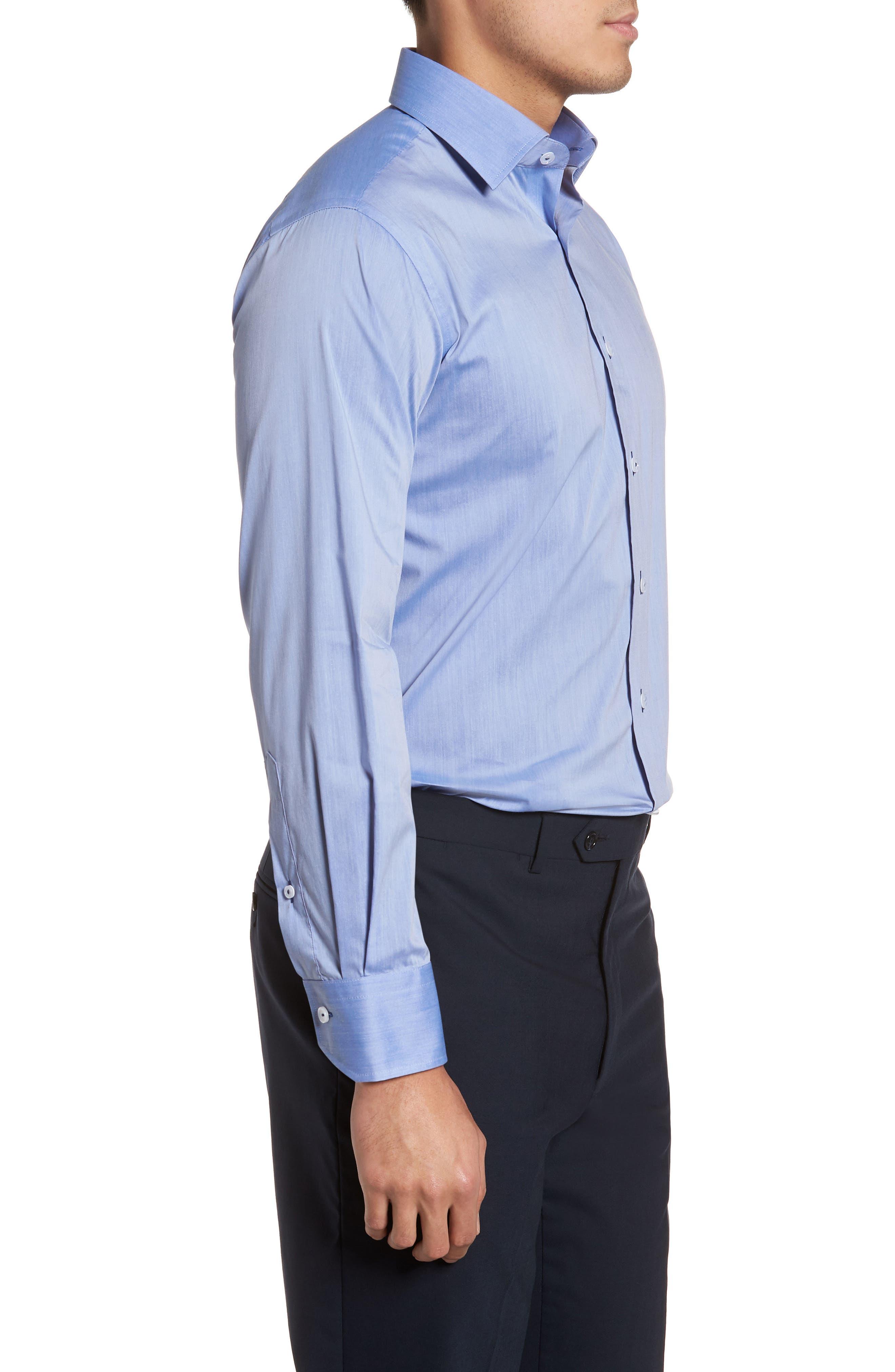 Trim Fit Dress Shirt,                             Alternate thumbnail 4, color,                             Blue