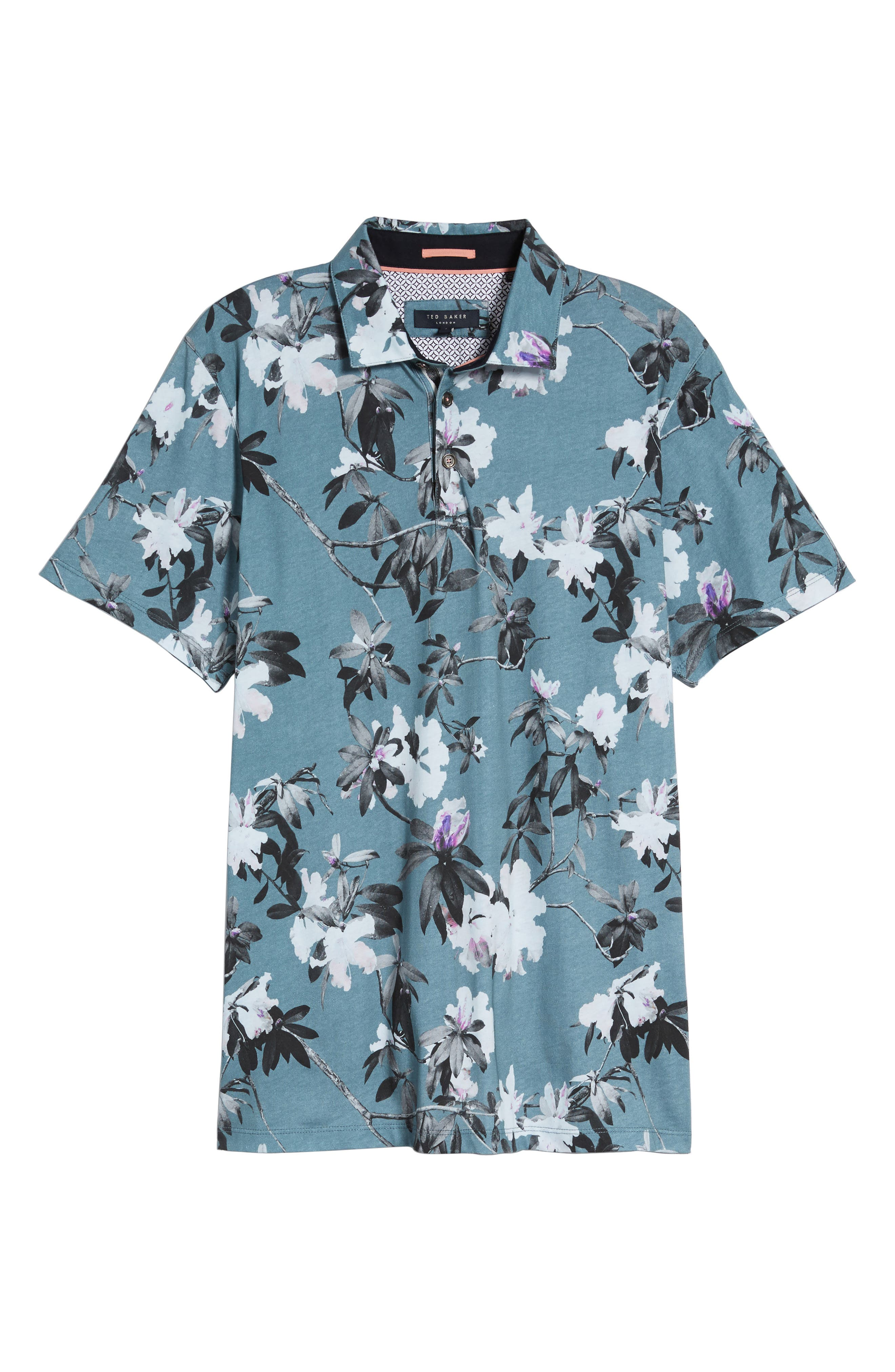 Scrufft Trim Fit Floral Print Polo,                             Alternate thumbnail 5, color,                             Teal