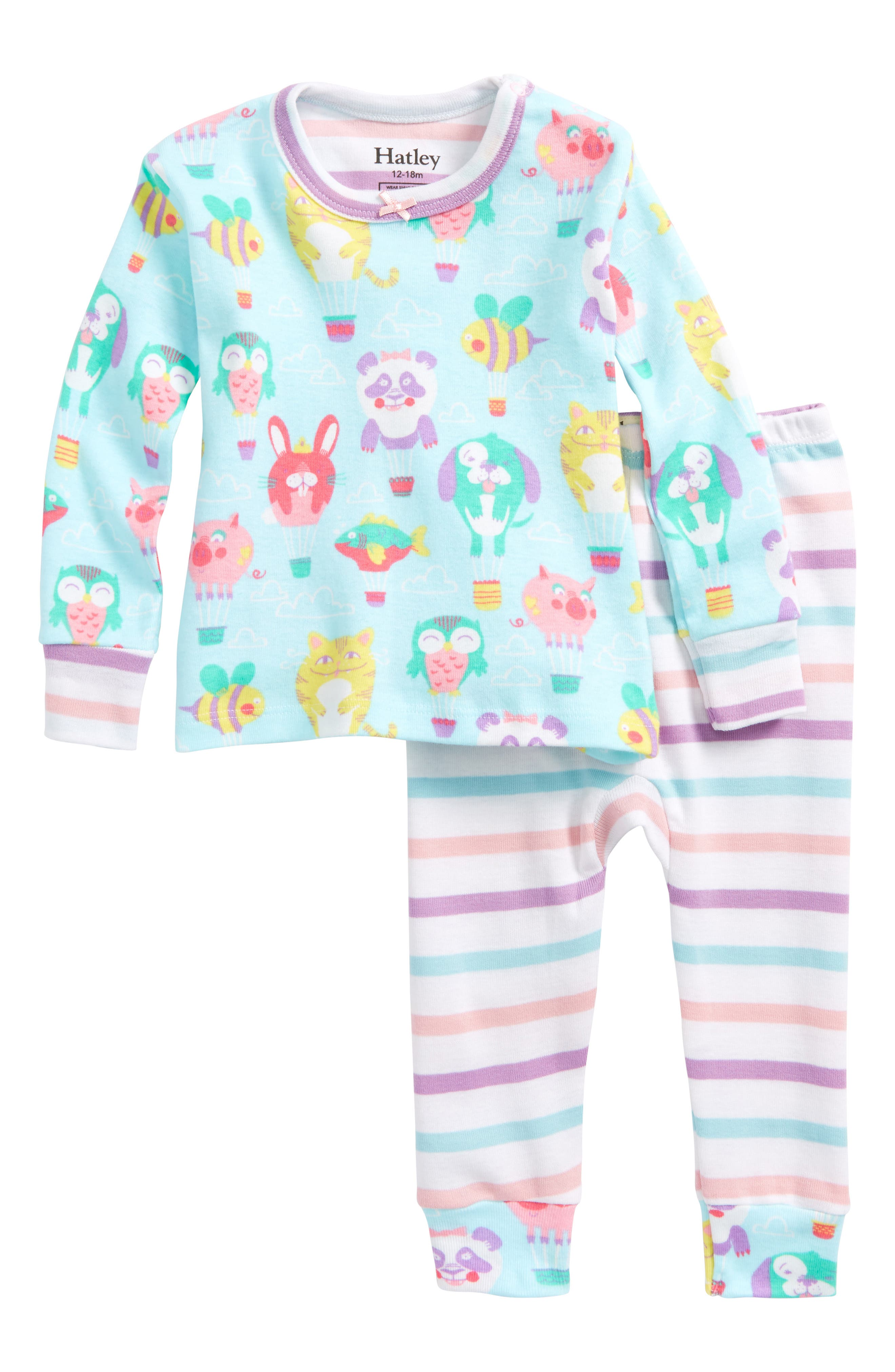 Hatley Cutie Balloonies Organic Cotton Fitted Two-Piece Pajamas (Baby Girls)