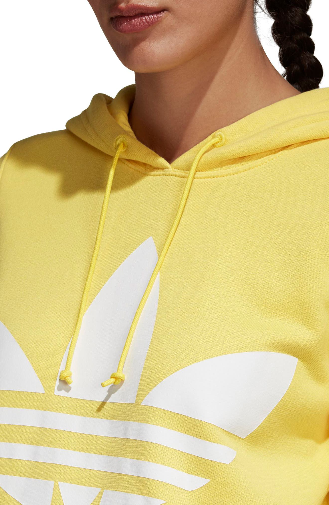 Originals Trefoil Hoodie,                             Alternate thumbnail 4, color,                             Intense Lemon