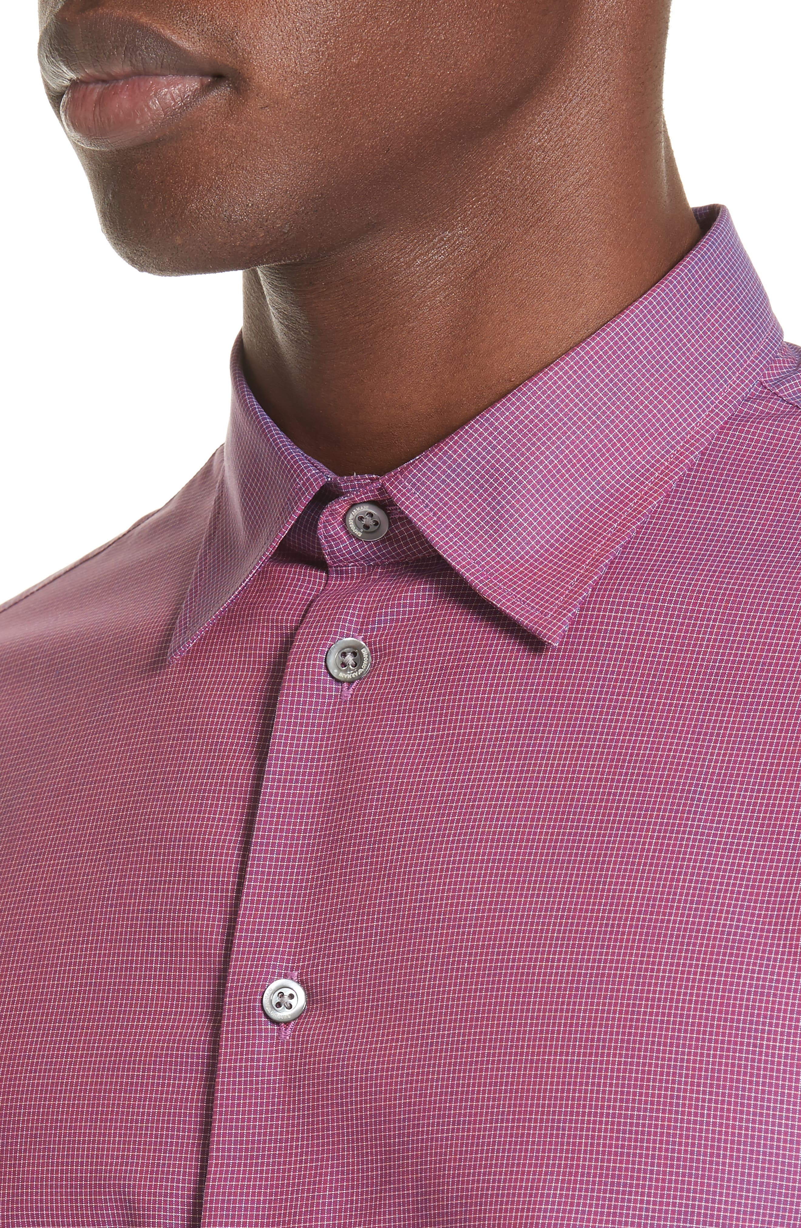 Microcheck Classic Fit Sport Shirt,                             Alternate thumbnail 4, color,                             Checked Red
