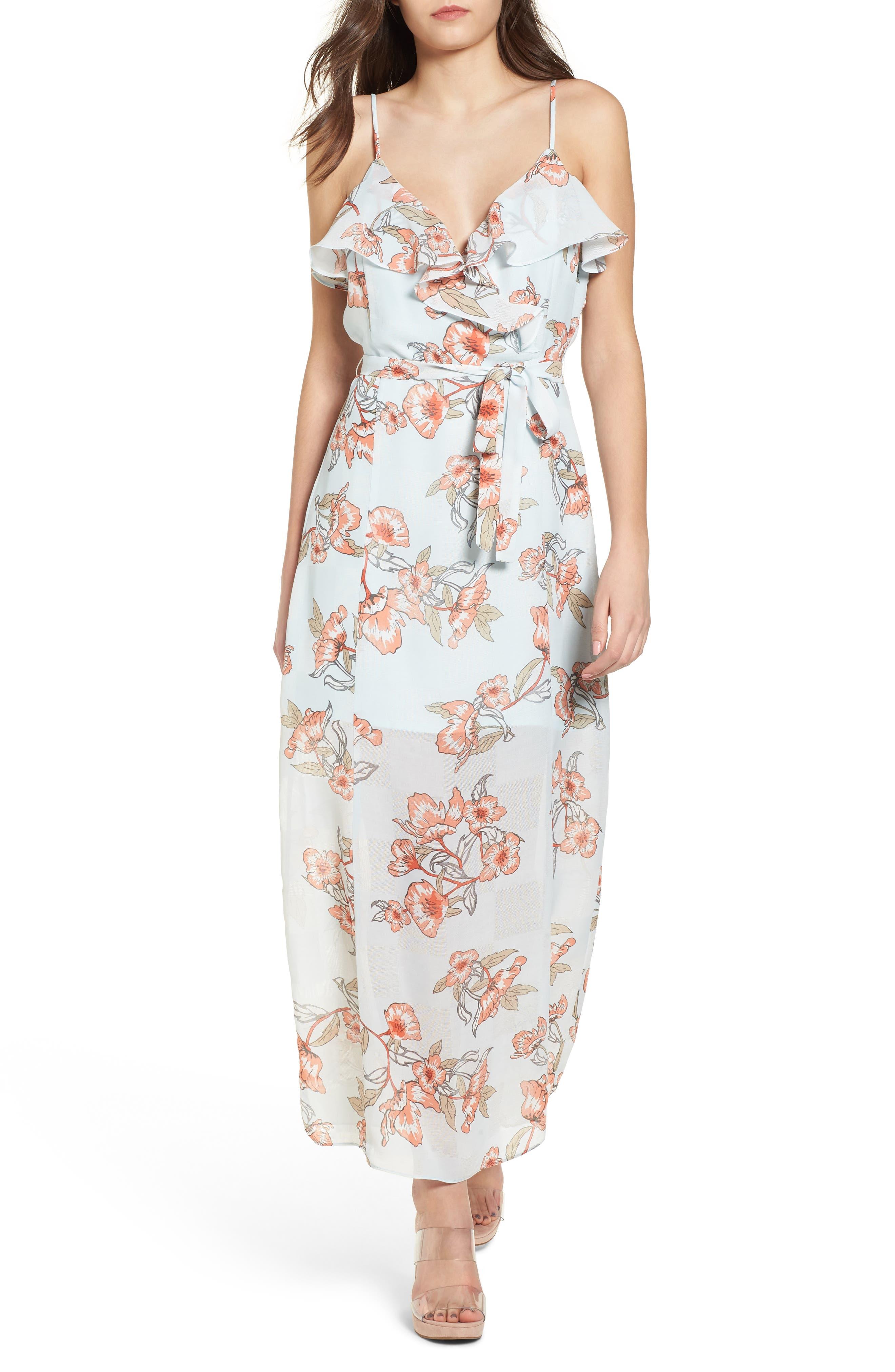 Ruffle Maxi Dress,                         Main,                         color, Mist Floral