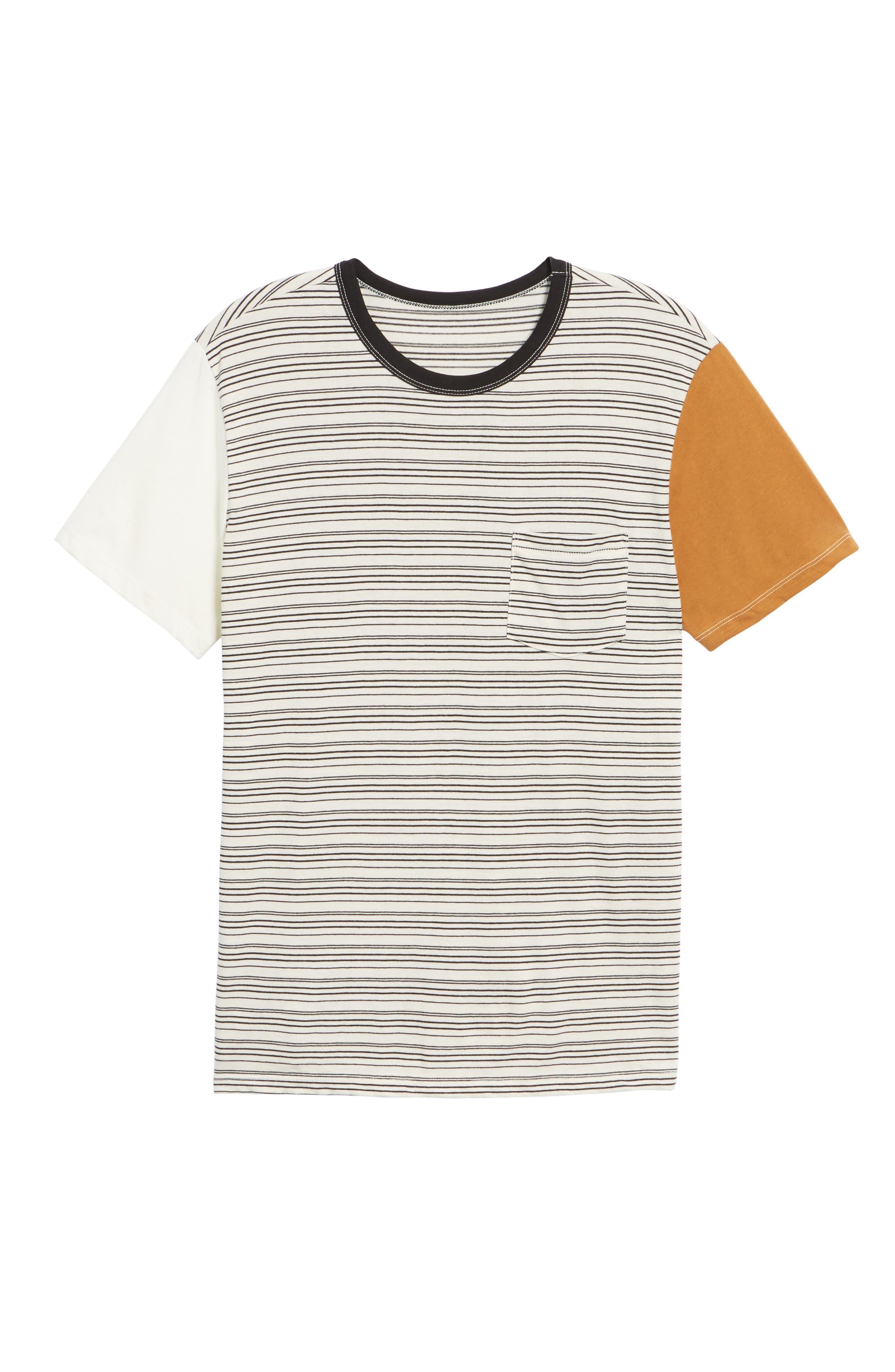 Blocked Ringer T-Shirt,                             Alternate thumbnail 6, color,                             Ivory Black Block Stripe