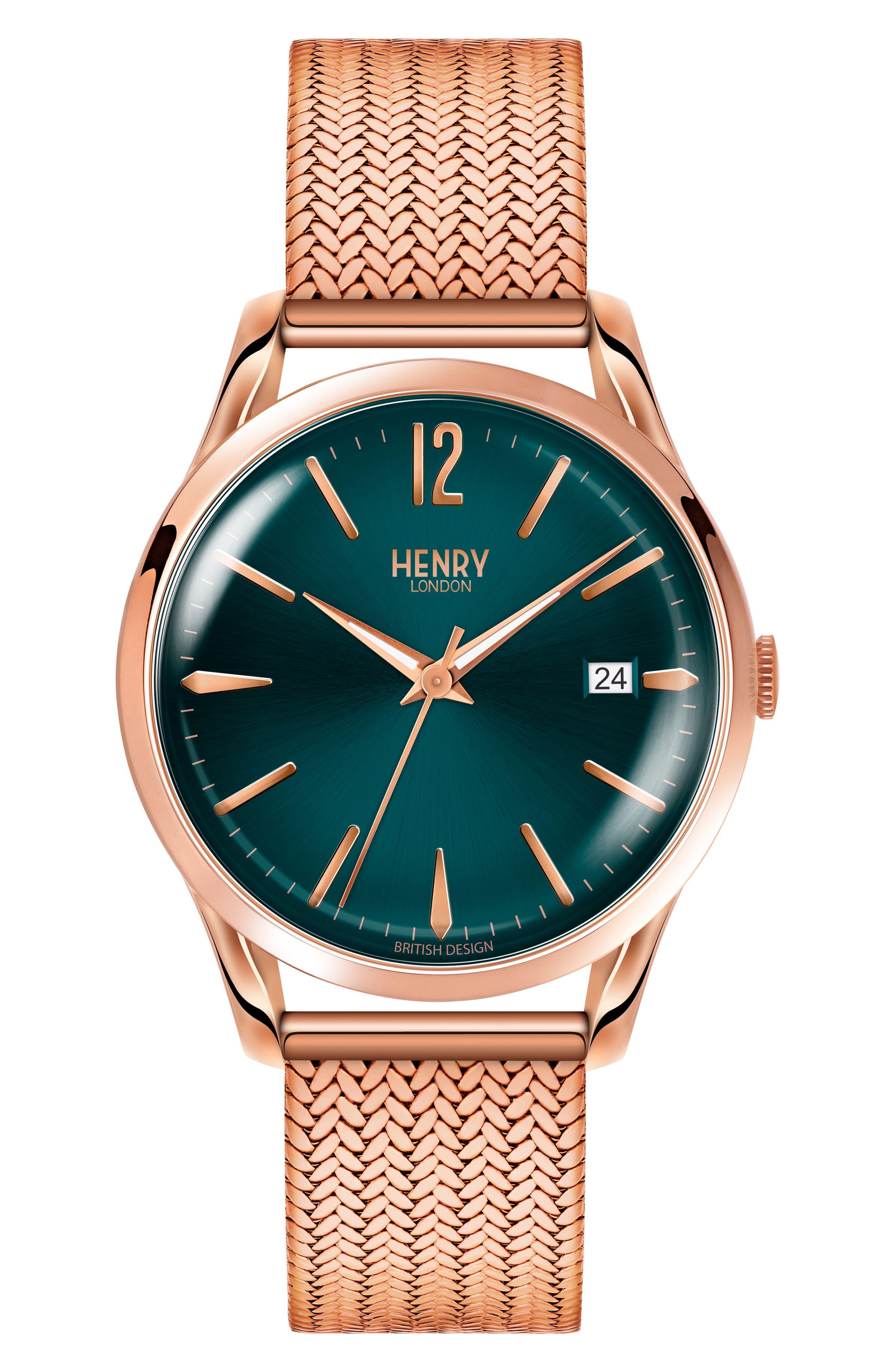 Stratford Mesh Strap Watch, 39mm,                         Main,                         color, Rose Gold/ Mallard/ Rose Gold