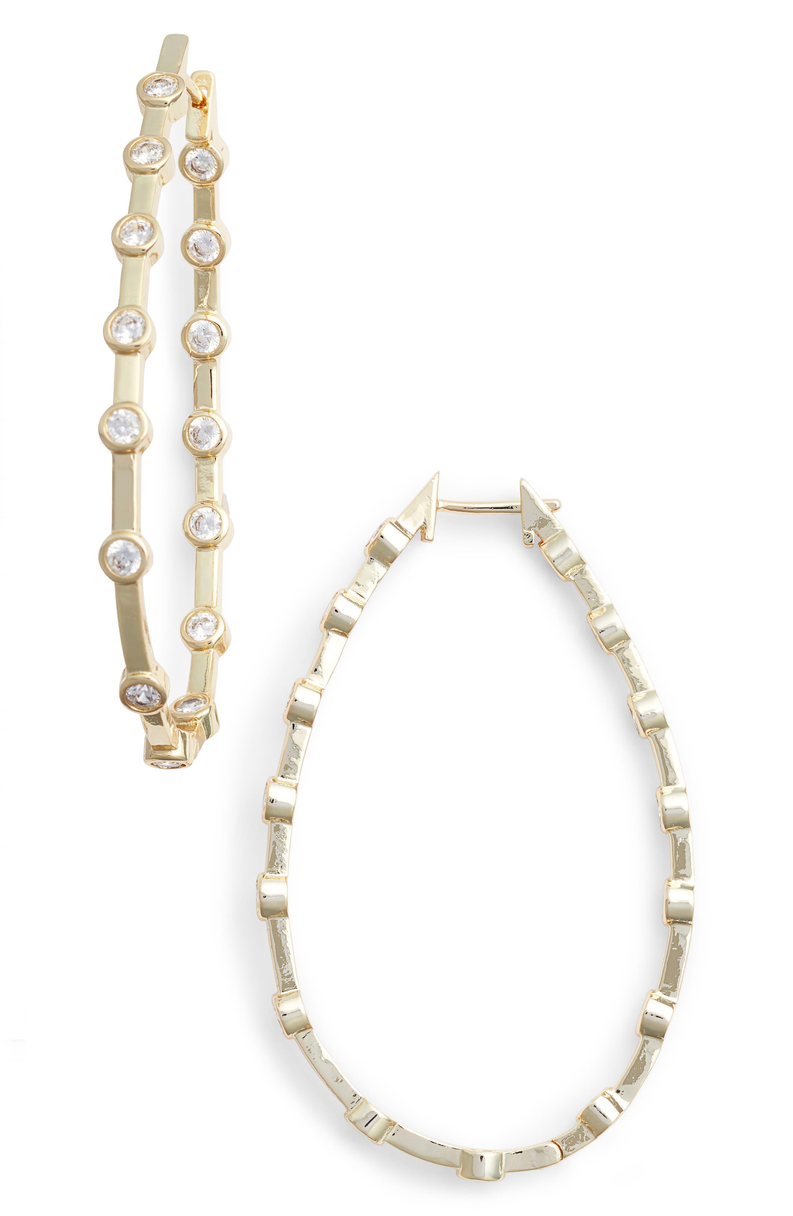 Melinda Maria Pipa Crystal Hoop Earrings