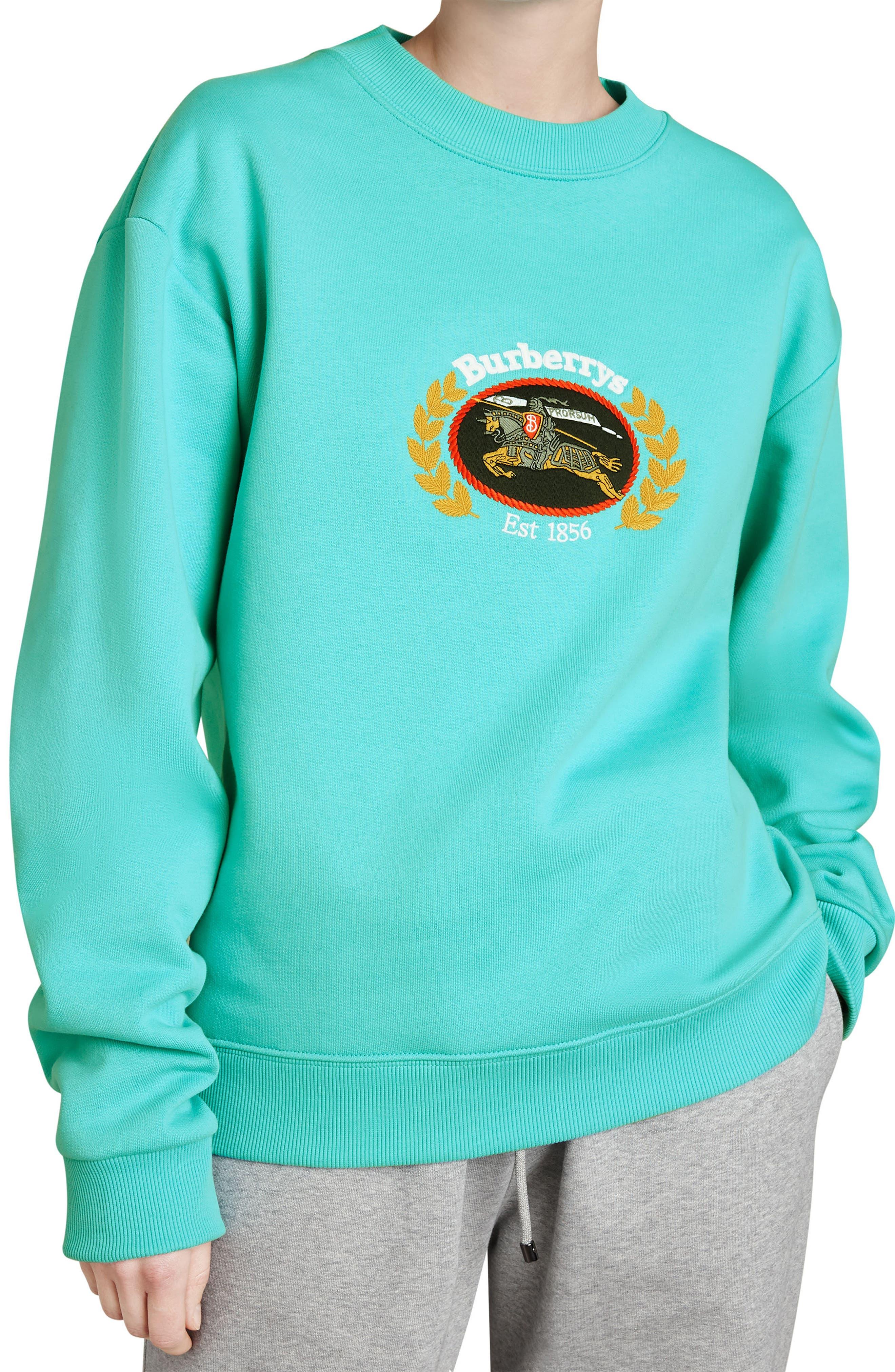 Vintage Crest Sweatshirt,                         Main,                         color, Aqua