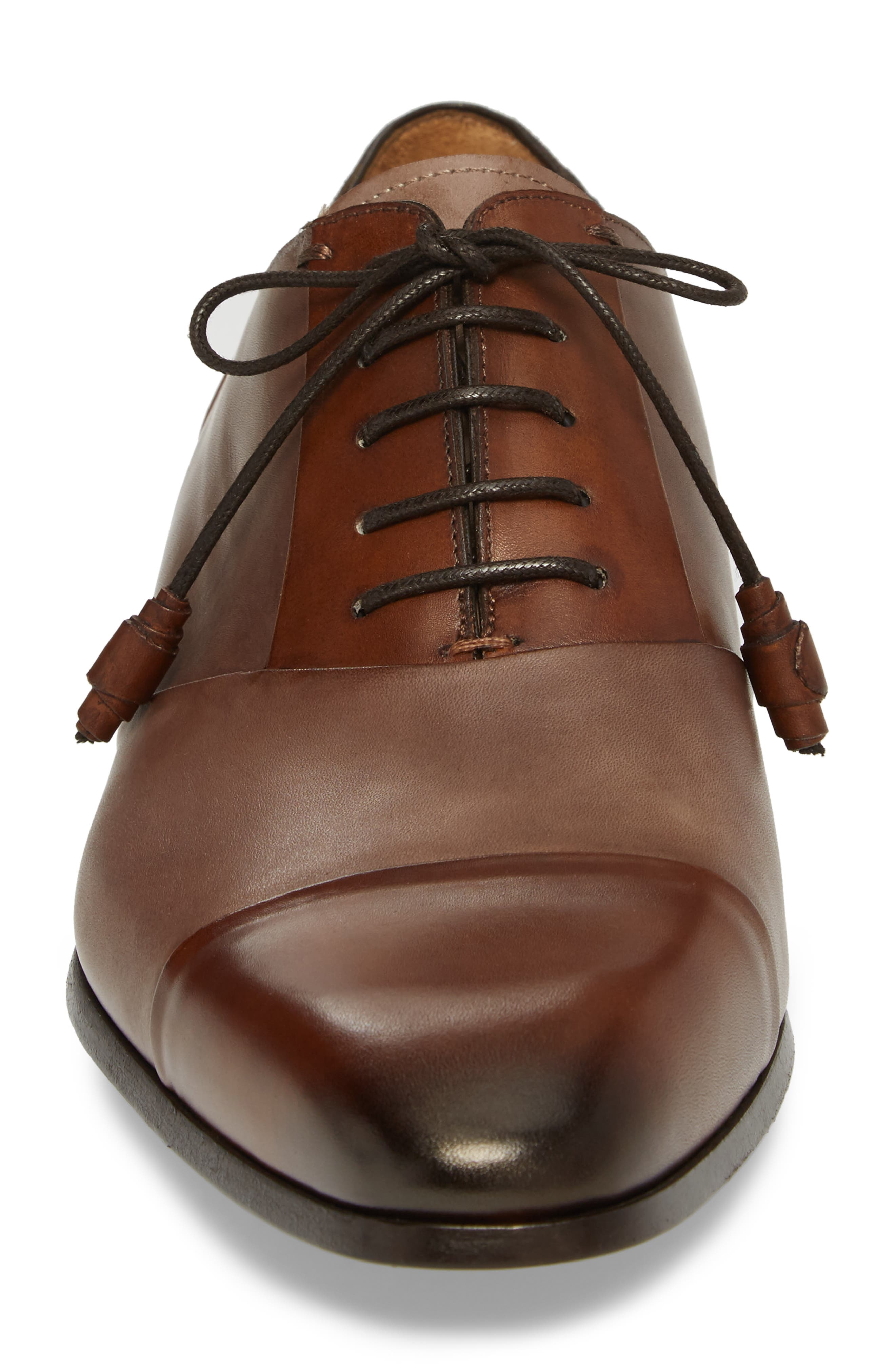 Julius Spectator Oxford,                             Alternate thumbnail 4, color,                             Cognac/ Taupe Leather