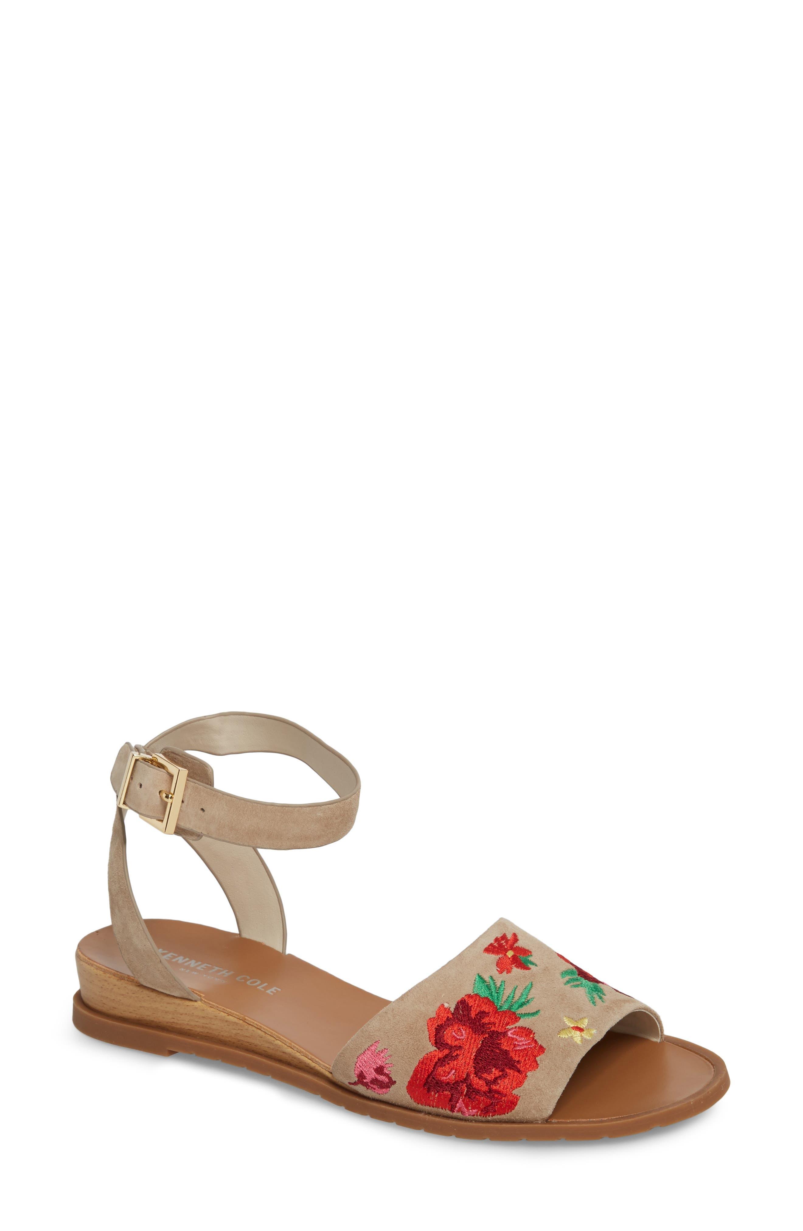 Jinny Ankle Strap Sandal,                         Main,                         color, Tan Faux Suede