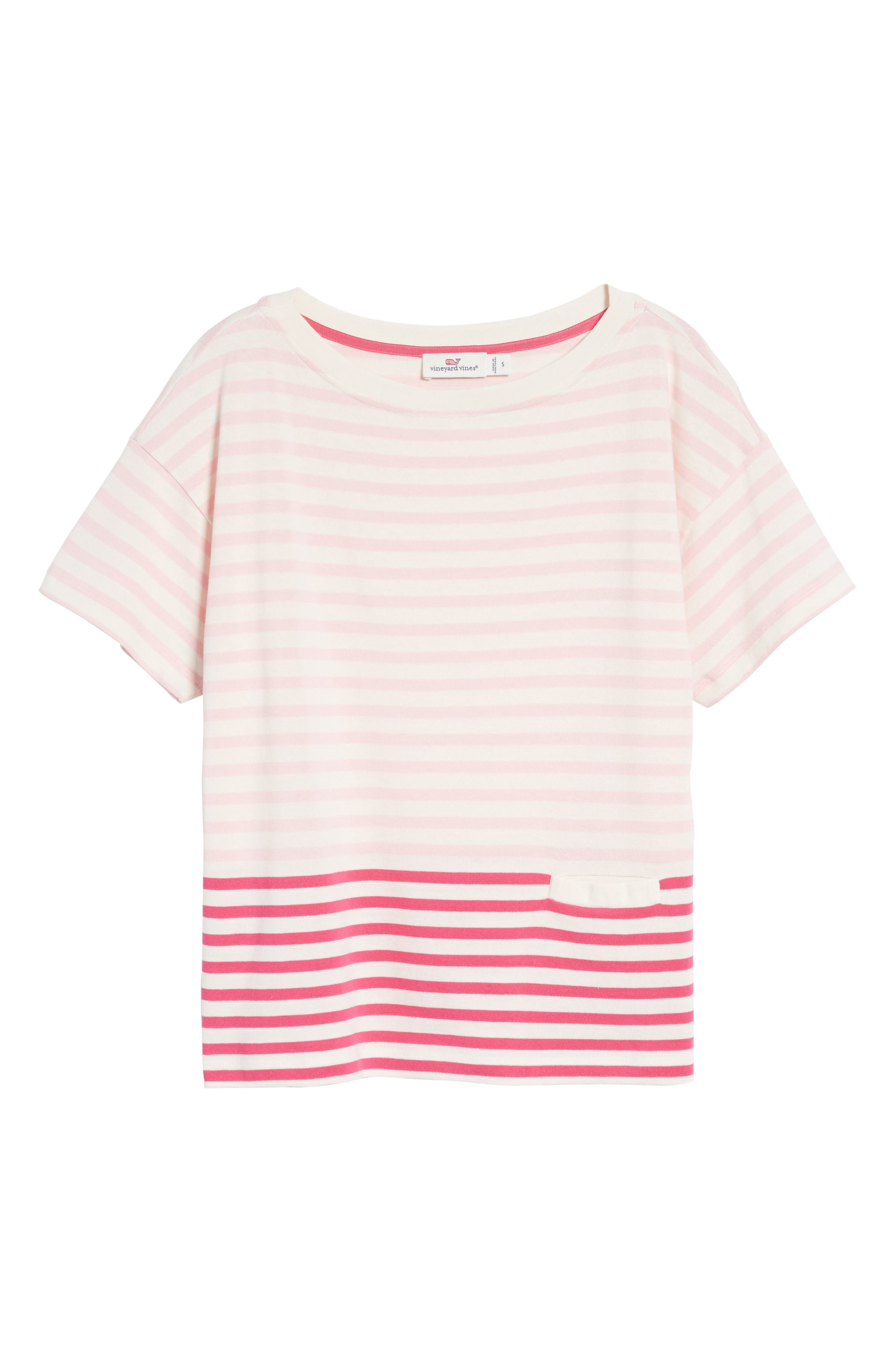 Mixed Stripe Pocket Cotton Knit Top,                             Alternate thumbnail 7, color,                             Rhododendron