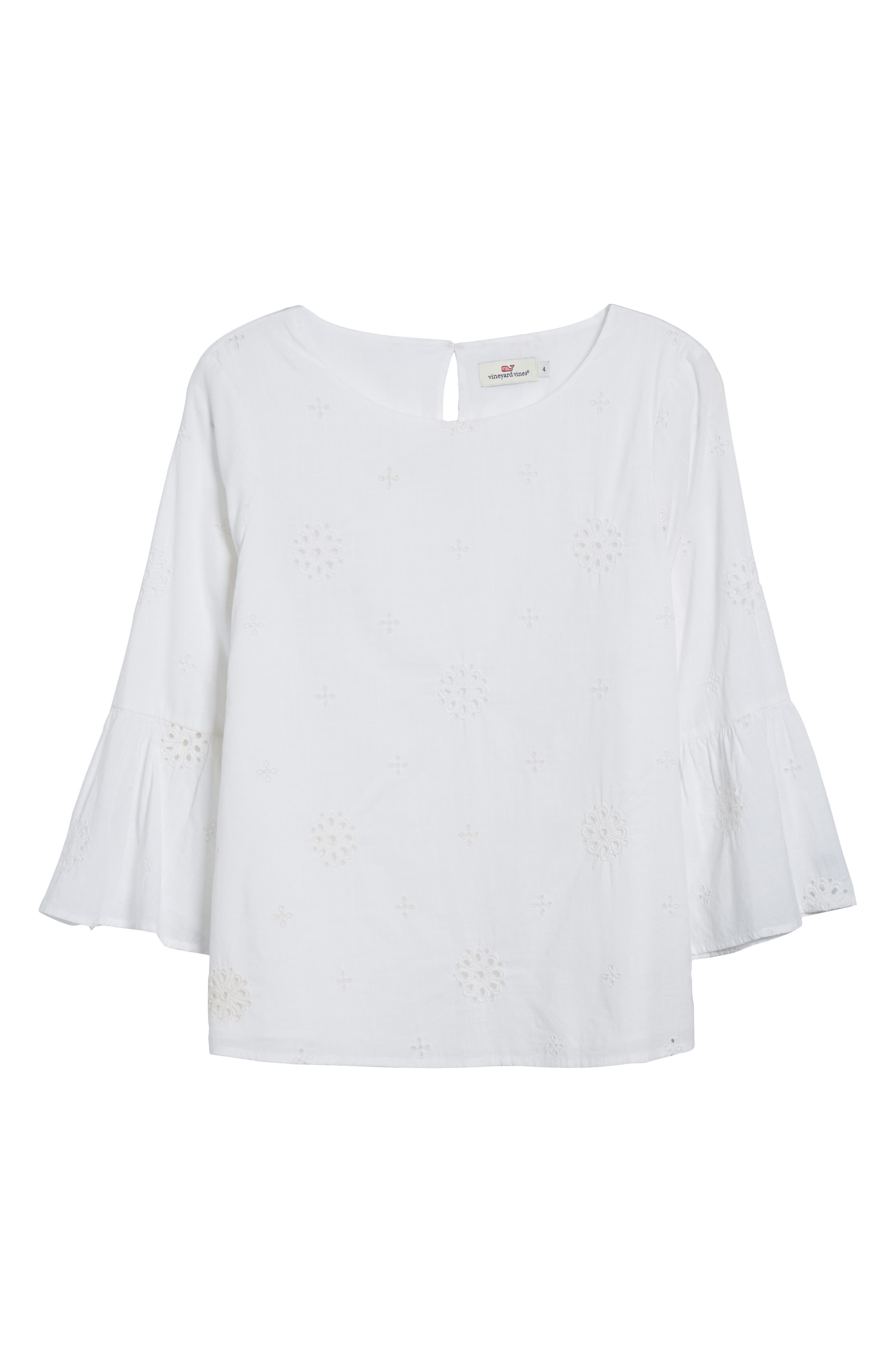 Eyelet Bell Sleeve Cotton Top,                             Alternate thumbnail 6, color,                             White Cap