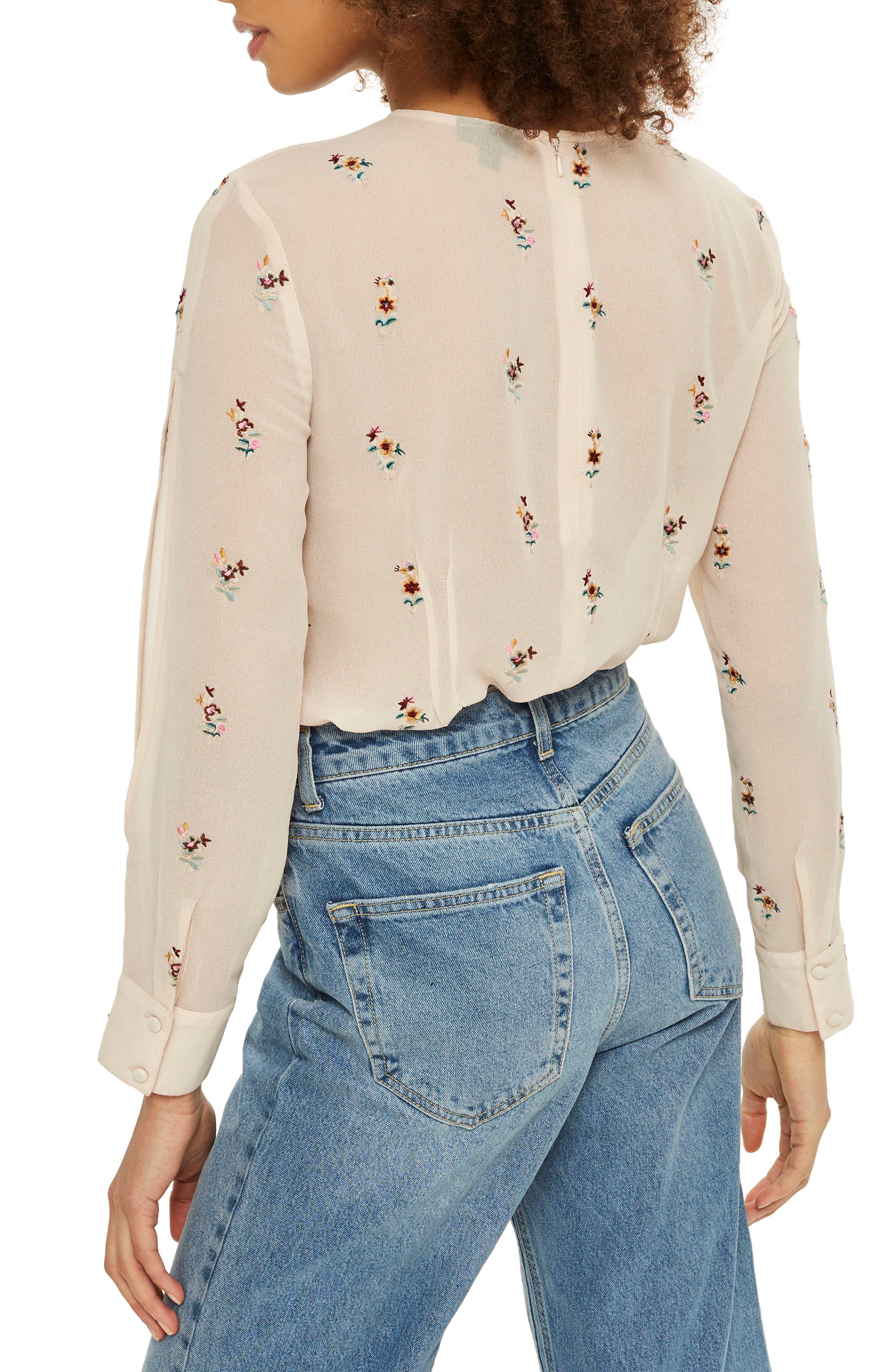 Alternate Image 3  - Topshop Floral Embroidered Split Sleeve Top