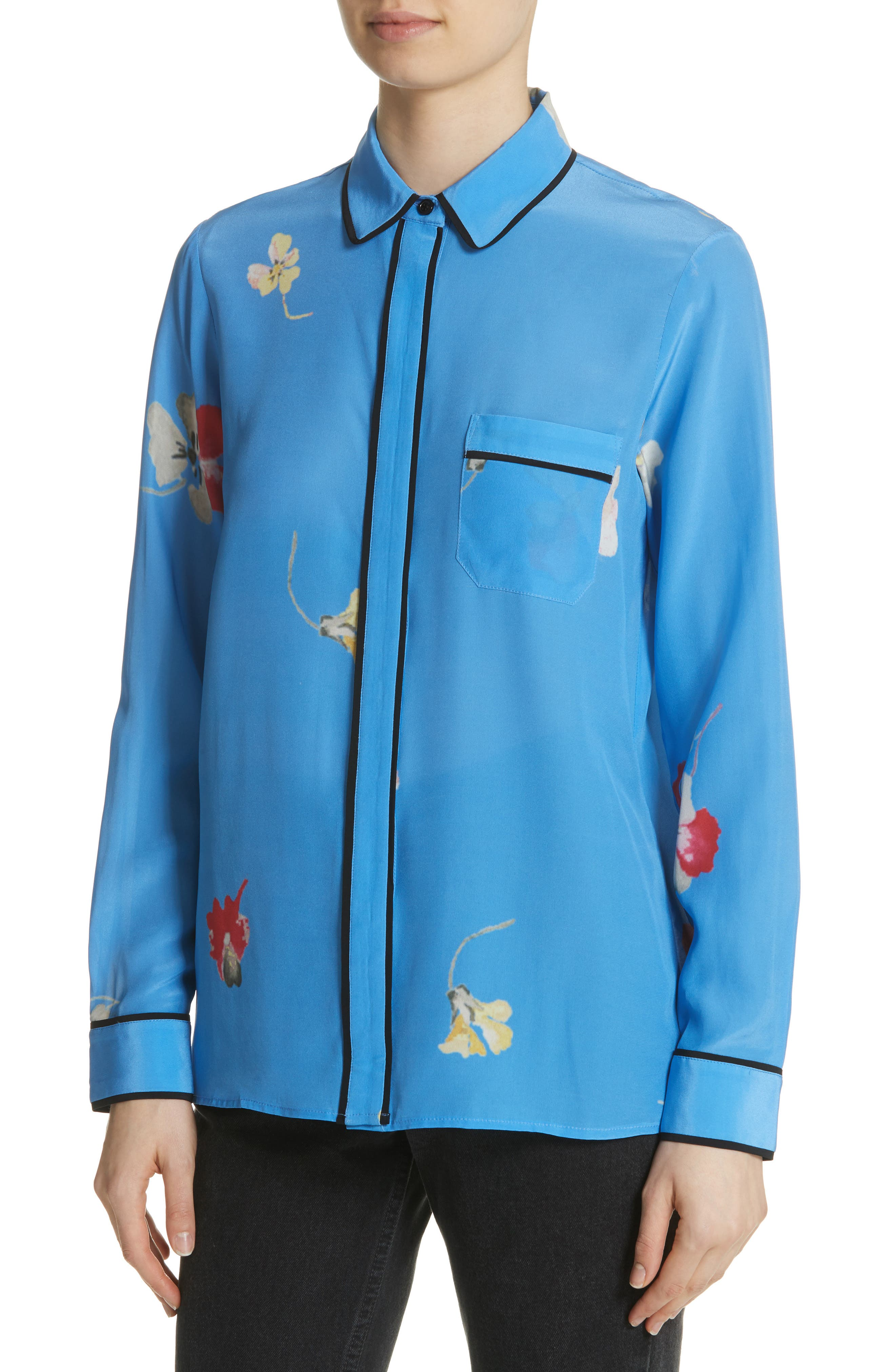 Joycedale Floral Silk Shirt,                             Alternate thumbnail 4, color,                             Marina