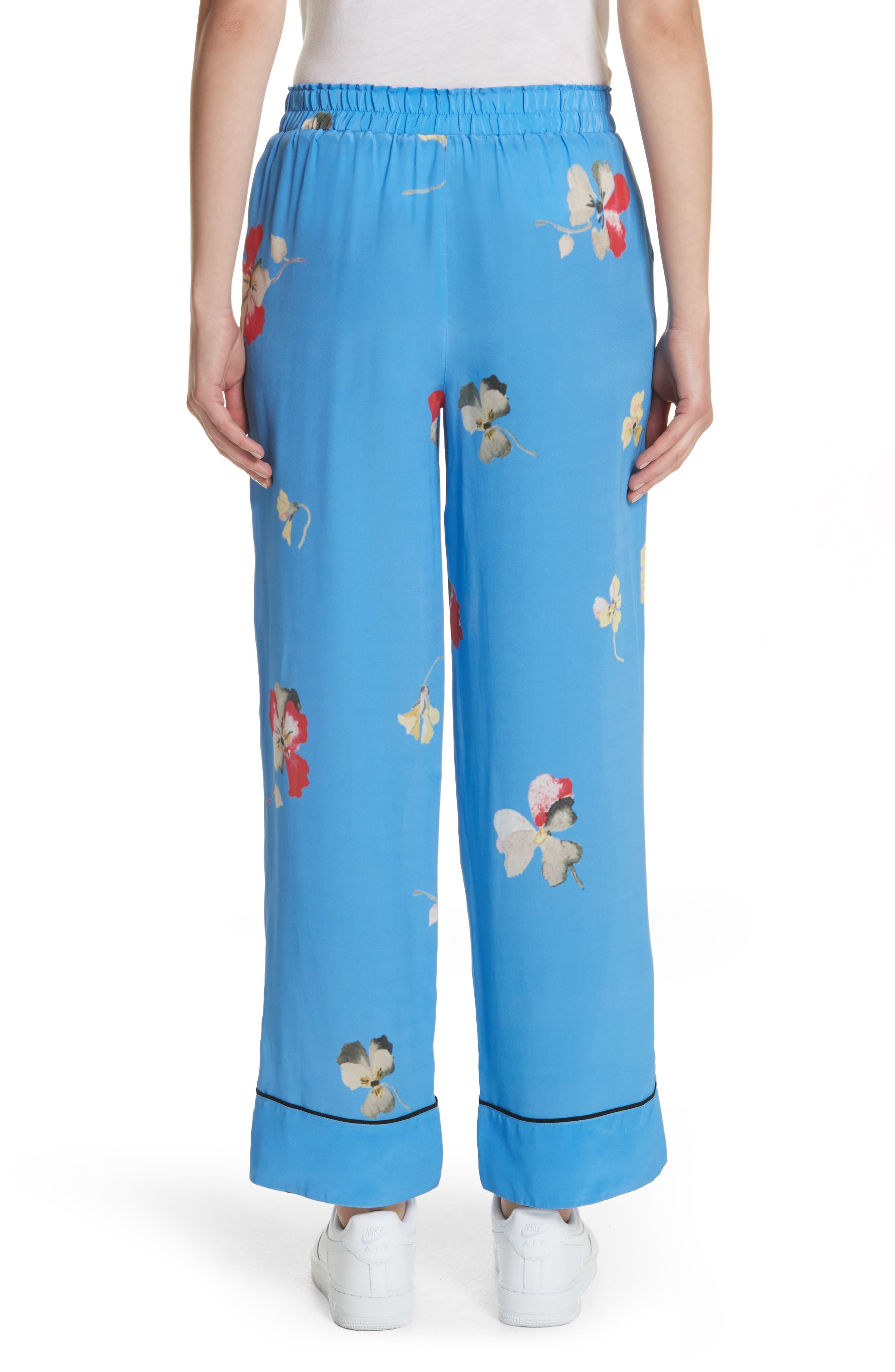 Joycedale Floral Silk Lounge Pants,                             Alternate thumbnail 2, color,                             Marina