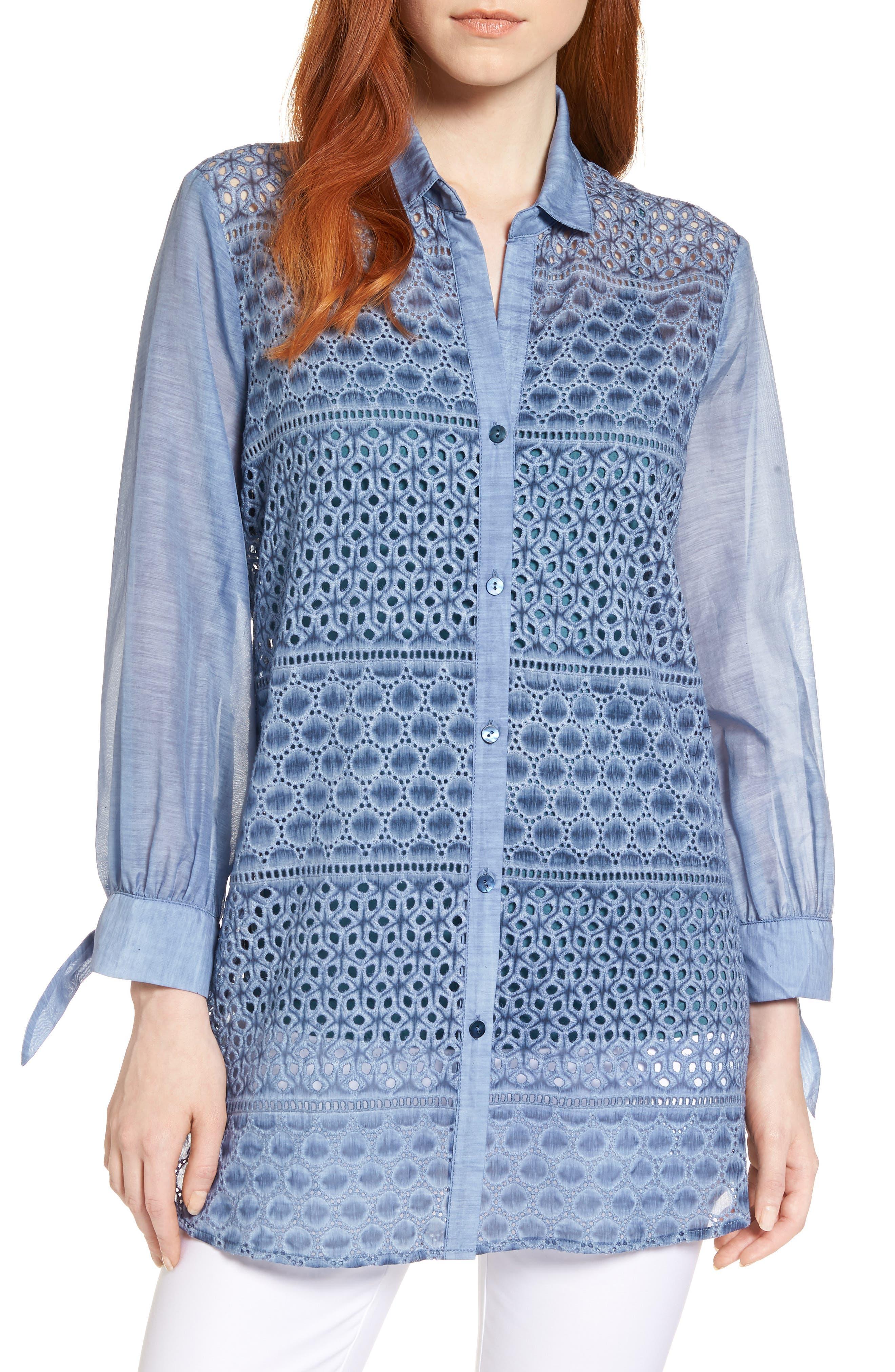 Mosaic Lace Cotton Silk Blouse,                             Main thumbnail 1, color,                             Mosaic Blue