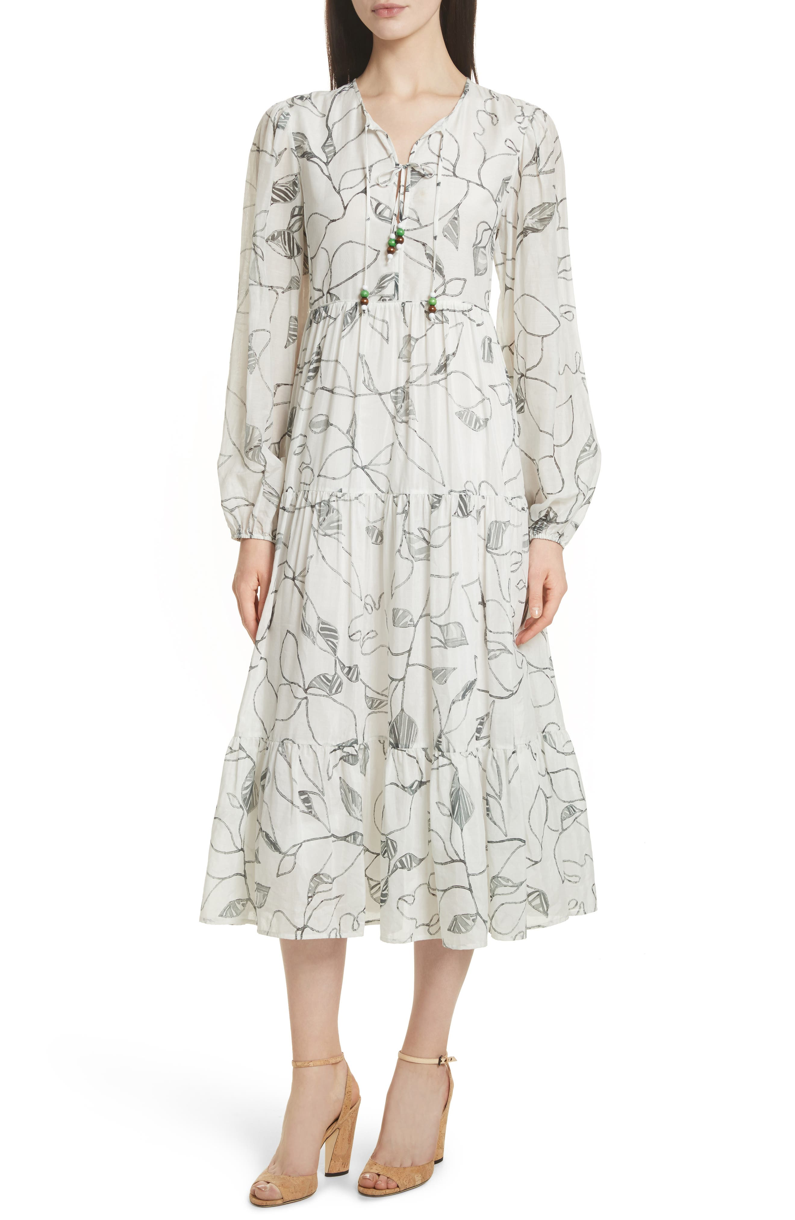 Gwendolyn Tiered Peasant Dress,                         Main,                         color, White Multi