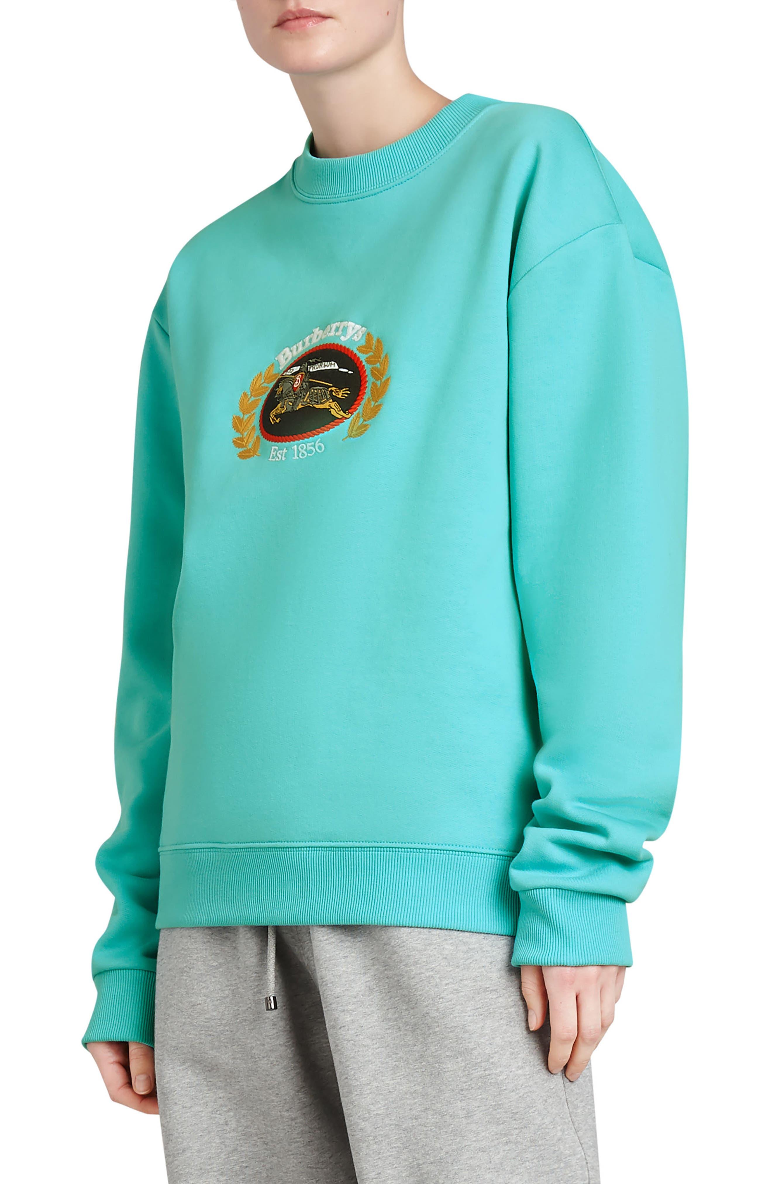 Vintage Crest Sweatshirt,                             Alternate thumbnail 3, color,                             Aqua