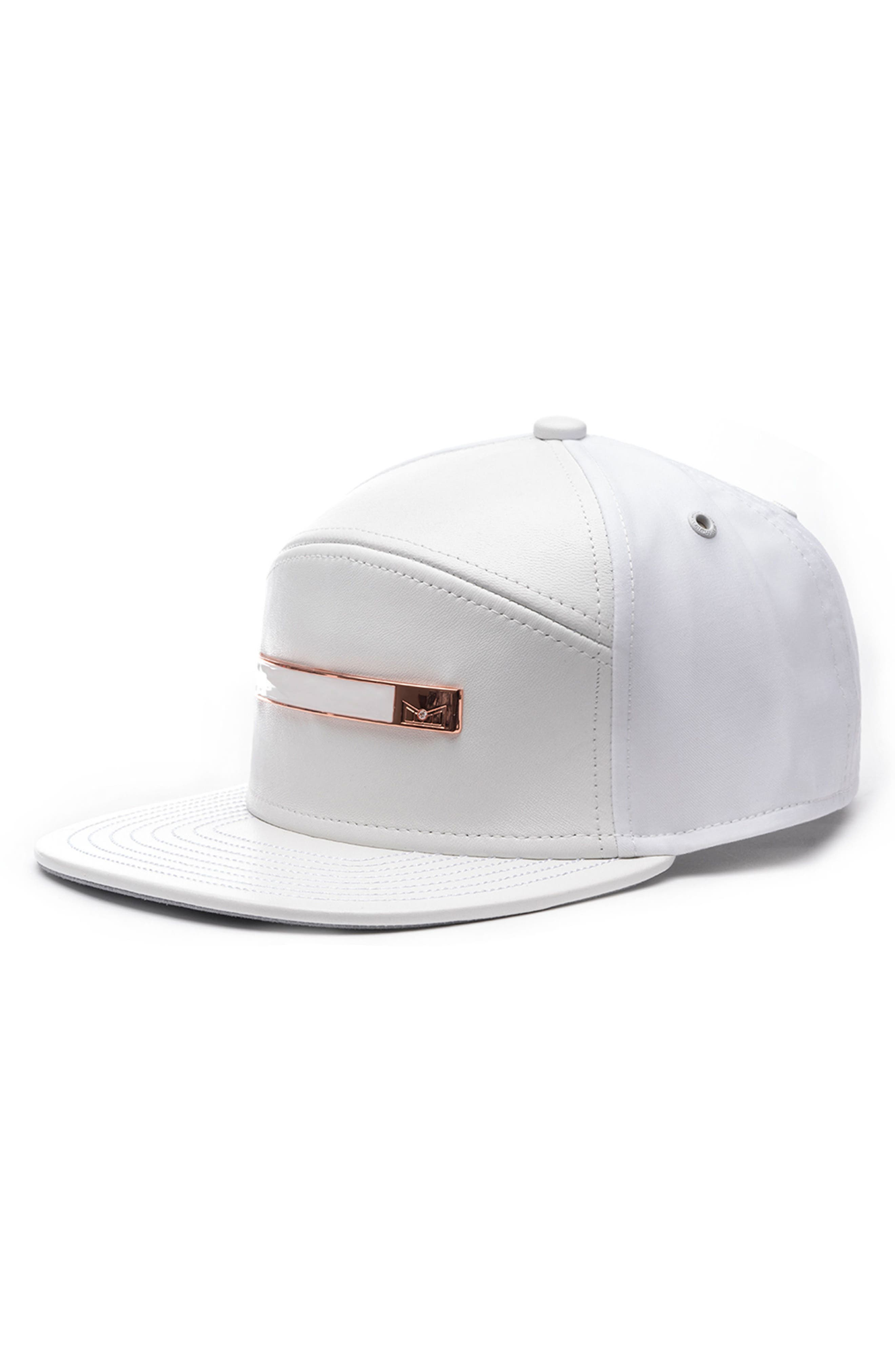 Dynasty V Limited Edition Leather, Cashmere, Wool & Diamond Cap,                             Main thumbnail 1, color,                             White