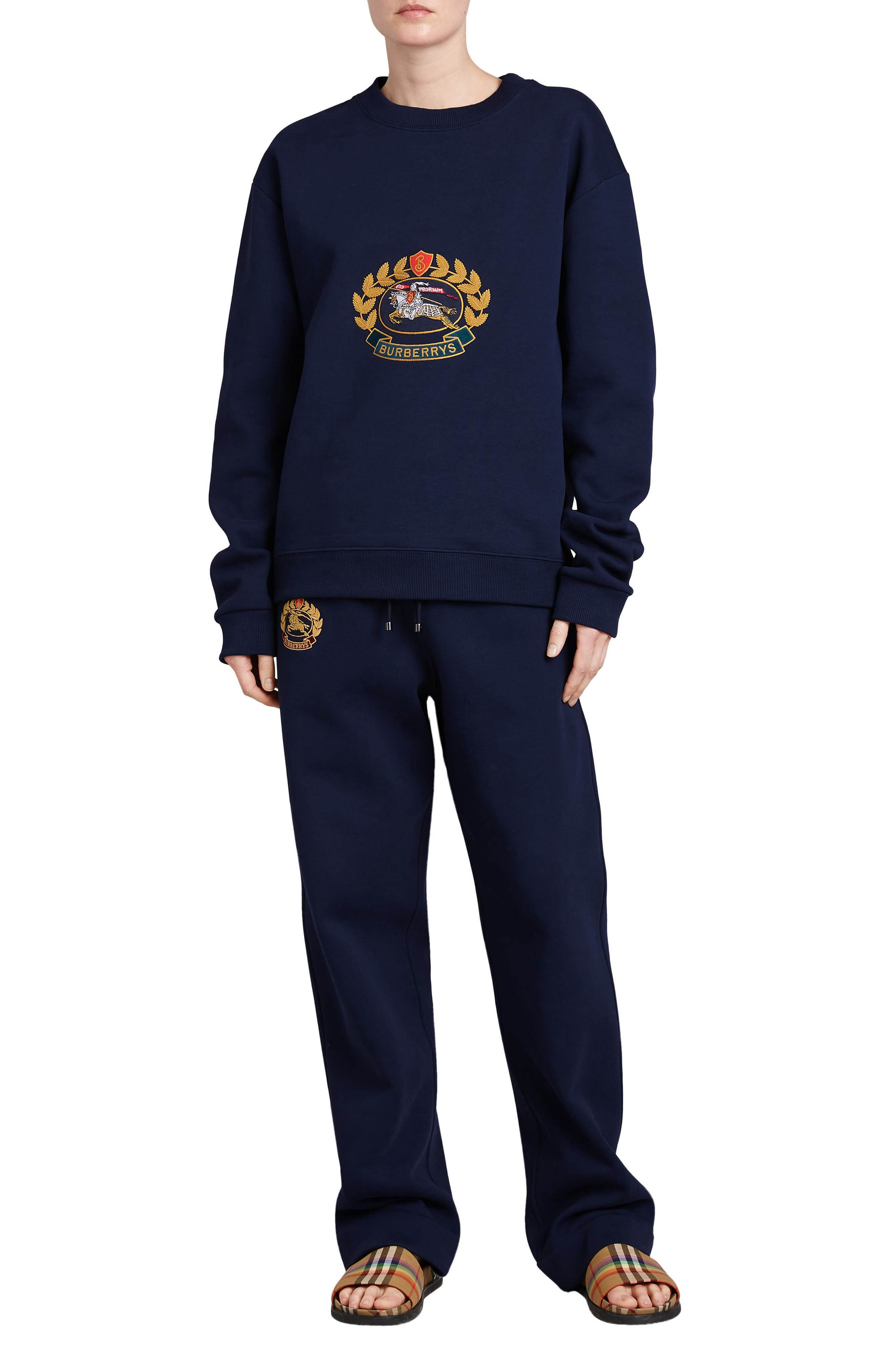 Vintage Crest Sweatshirt,                             Alternate thumbnail 5, color,                             Midnight Blue