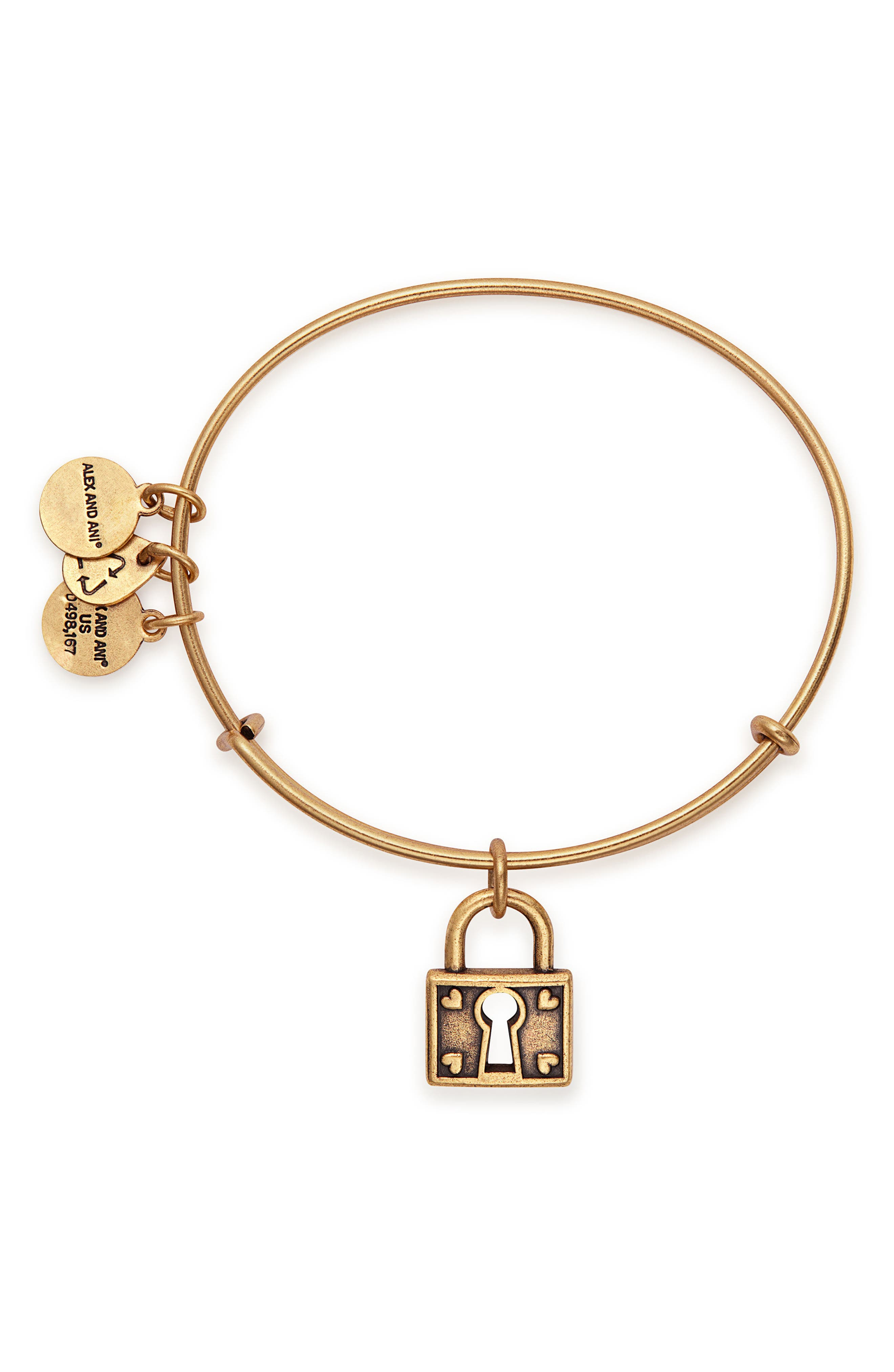 Unbreakable Love Adjustable Wire Bangle,                             Alternate thumbnail 2, color,                             Gold