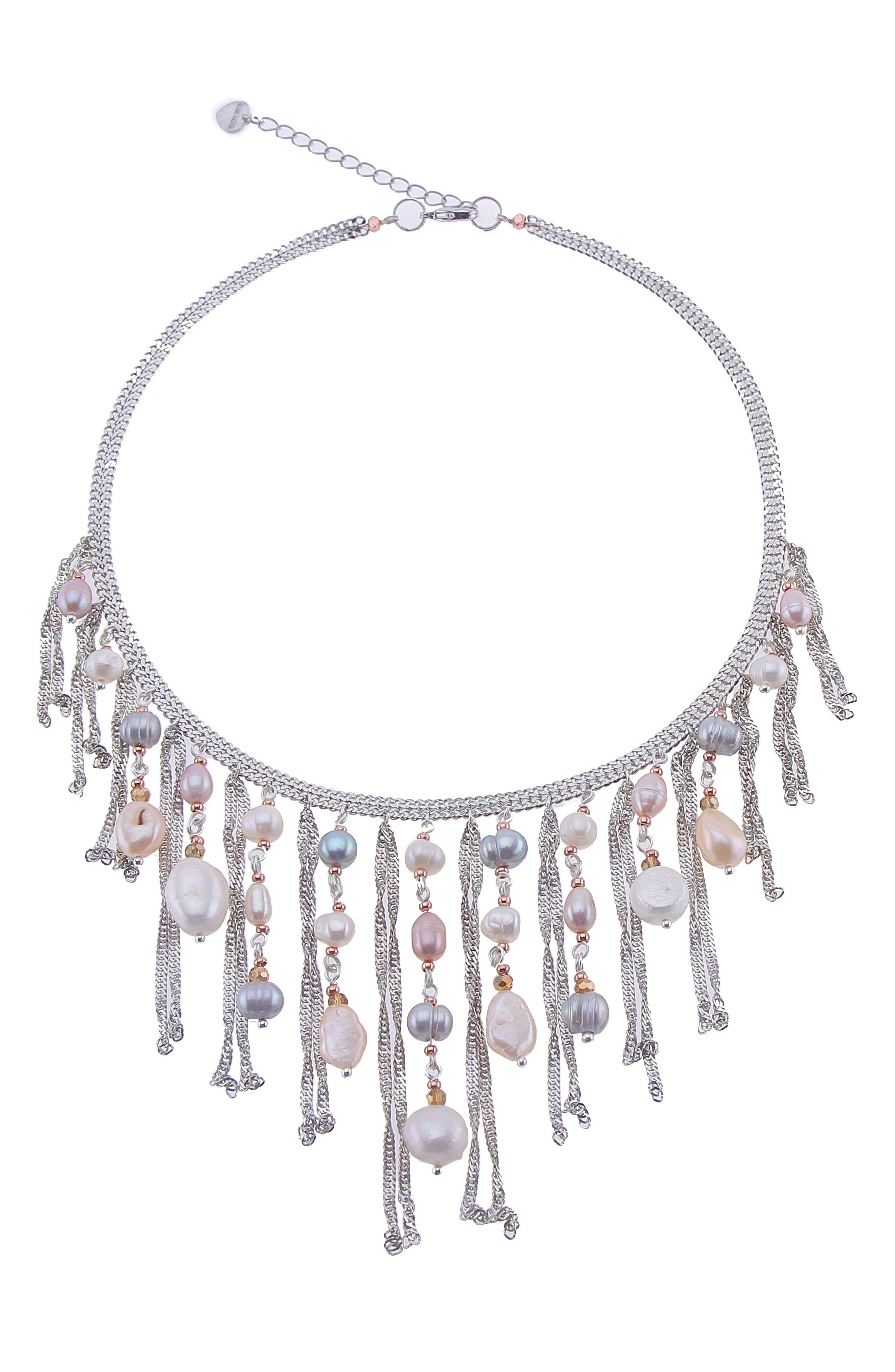 Freshwater Pearl & Chain Fringe Bib Necklace,                         Main,                         color, White