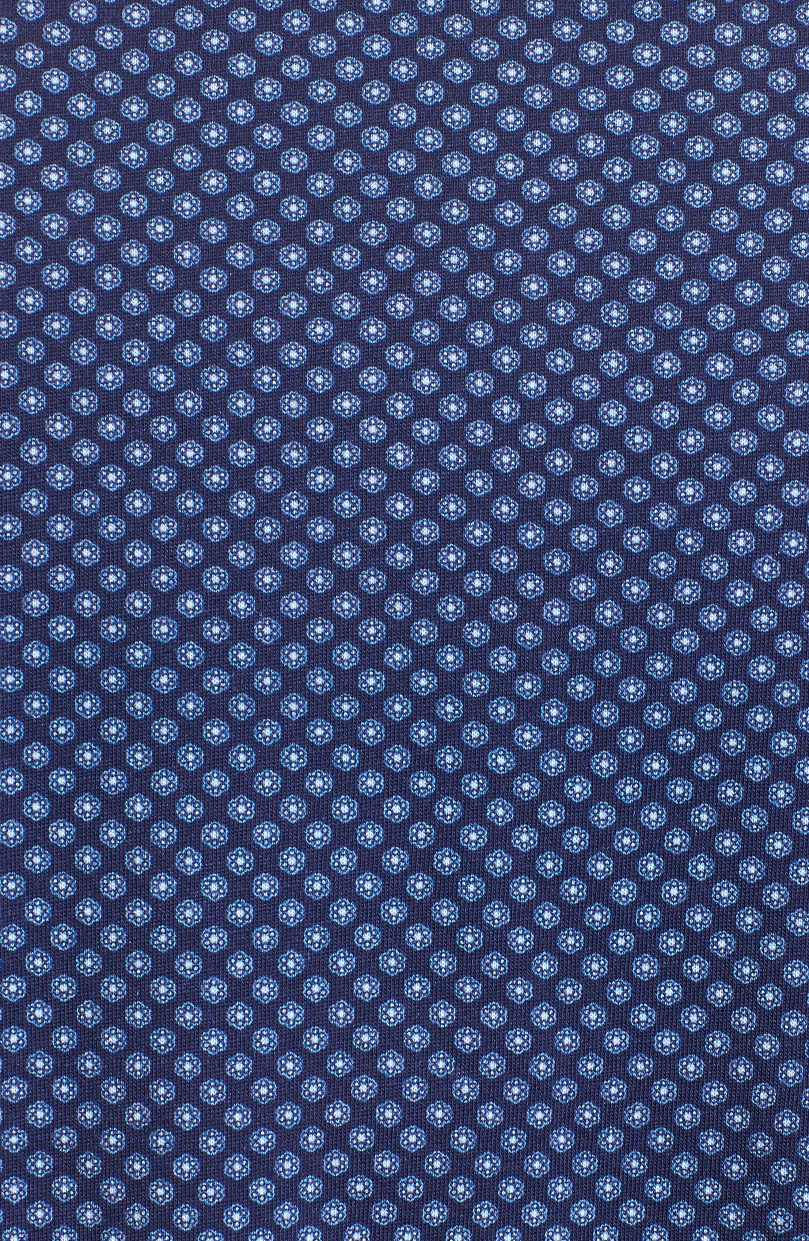 Floral Geo Print Knit Sport Shirt,                             Alternate thumbnail 5, color,                             Navy