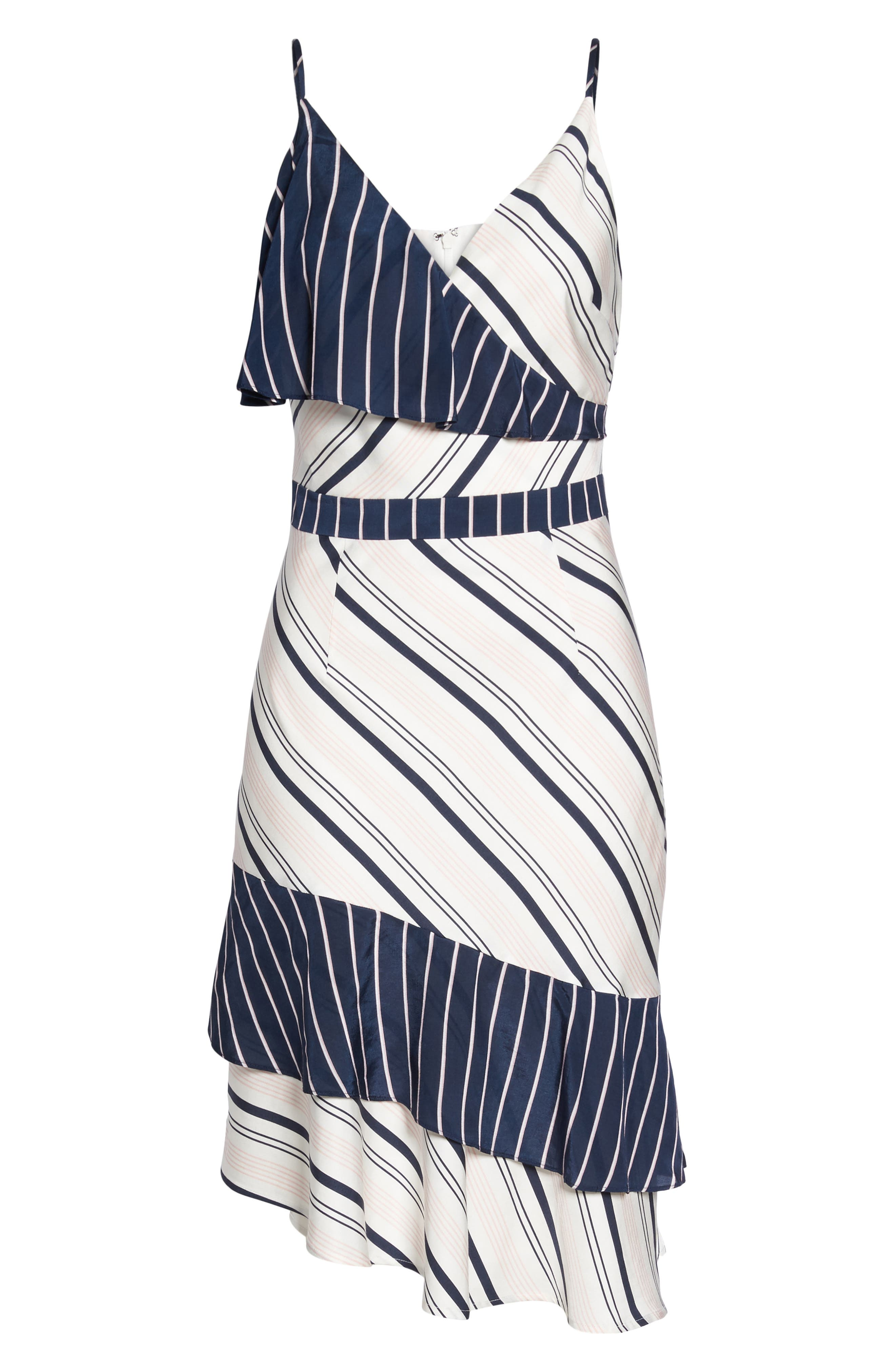 Mix Stripe Asymmetrical Dress,                             Alternate thumbnail 6, color,                             White/ Navy Miranda Stripe