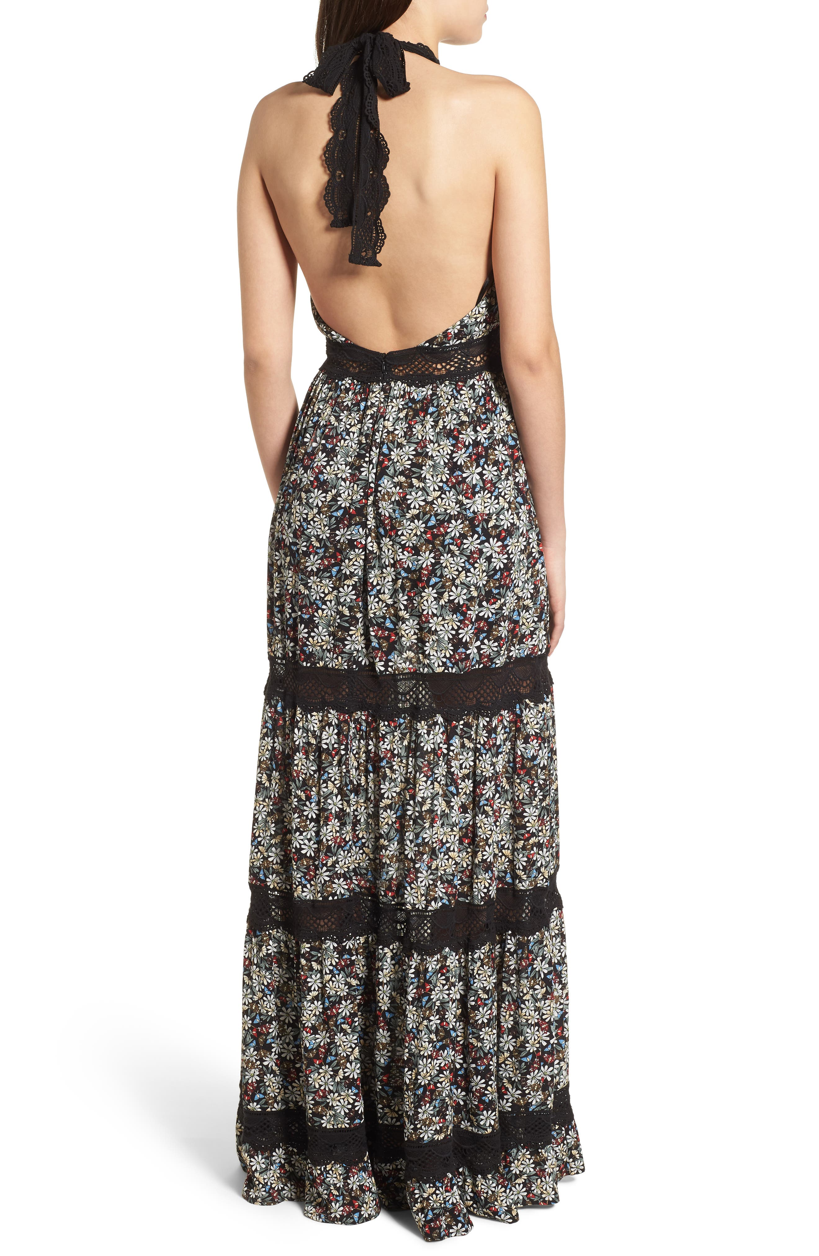 Flora Halter Neck Maxi Dress,                             Alternate thumbnail 3, color,                             Multi Black
