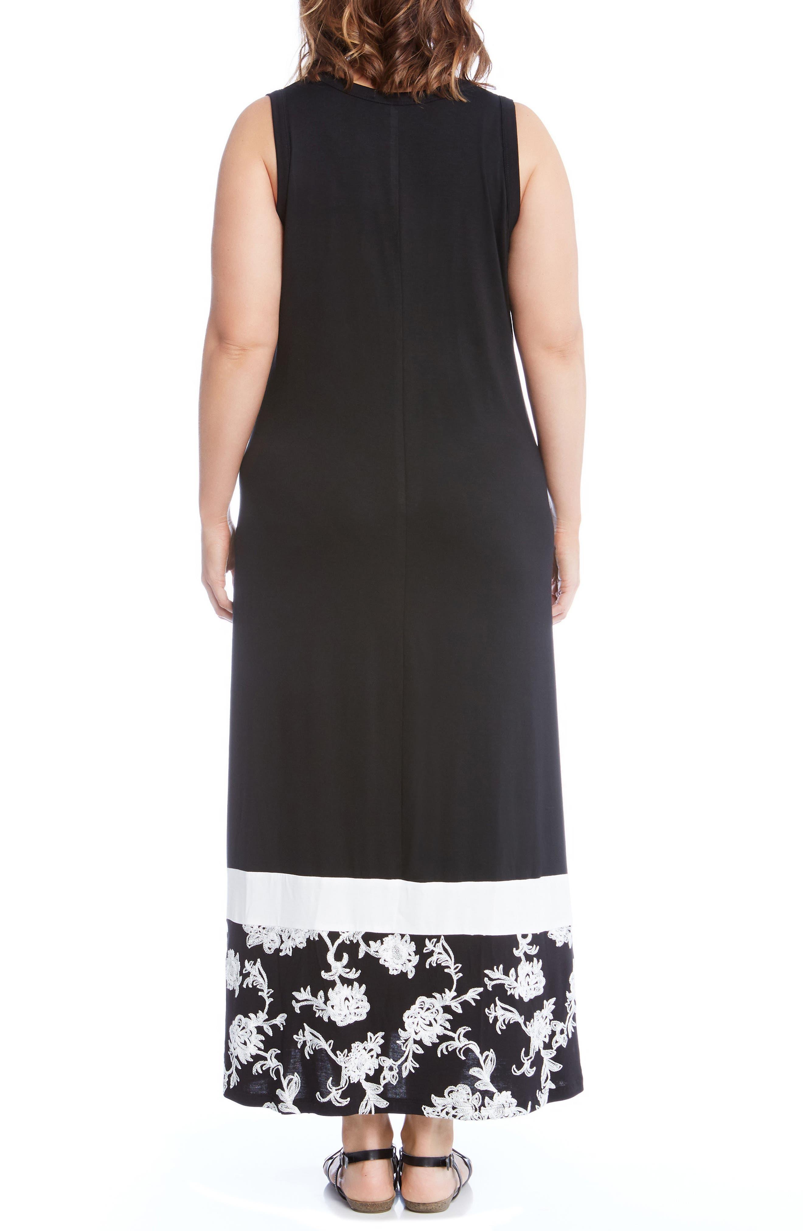 Embroidered Hem Maxi Dress,                             Alternate thumbnail 2, color,                             Black