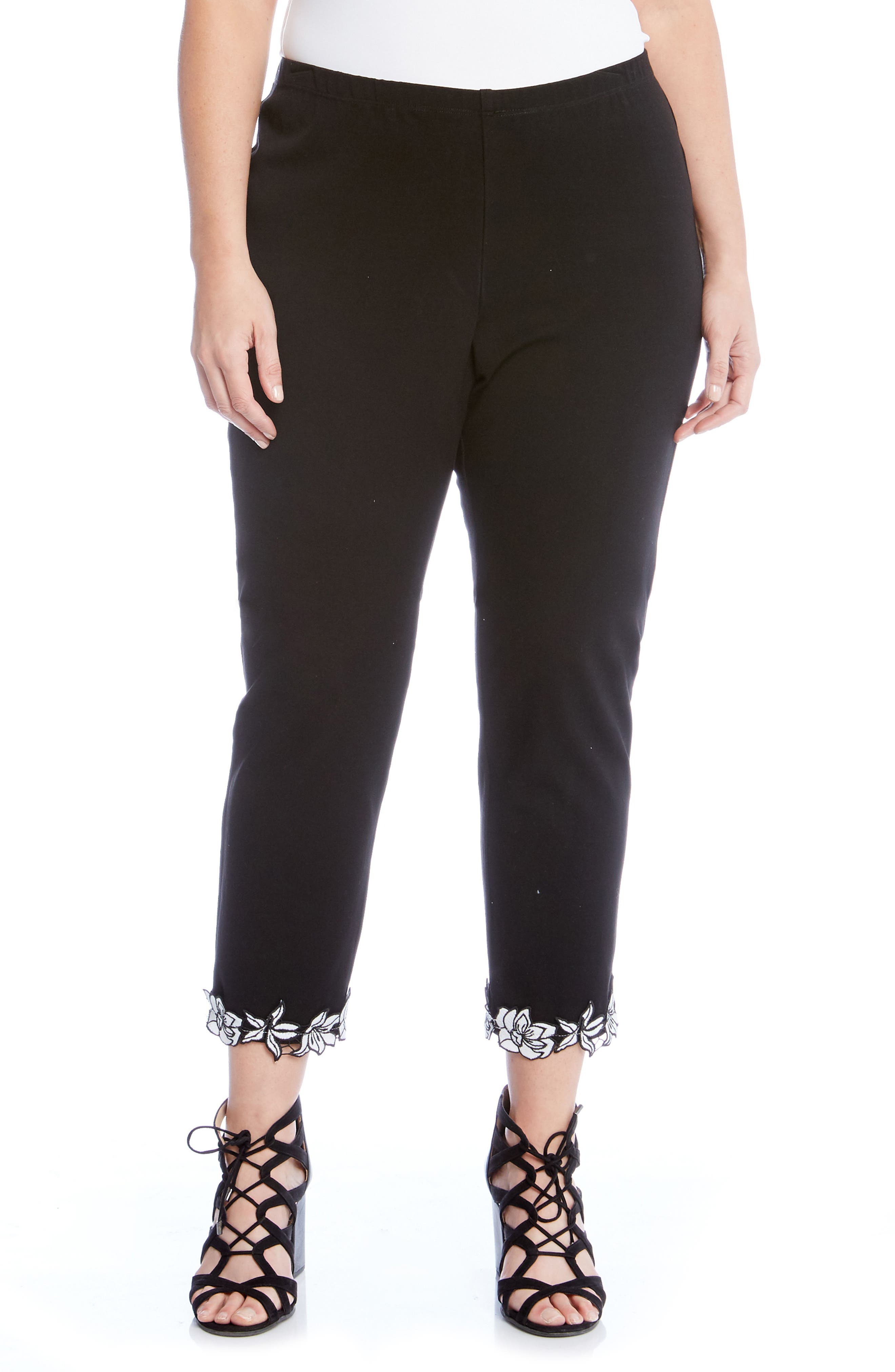 Piper Appliqué Hem Pants,                         Main,                         color, Black
