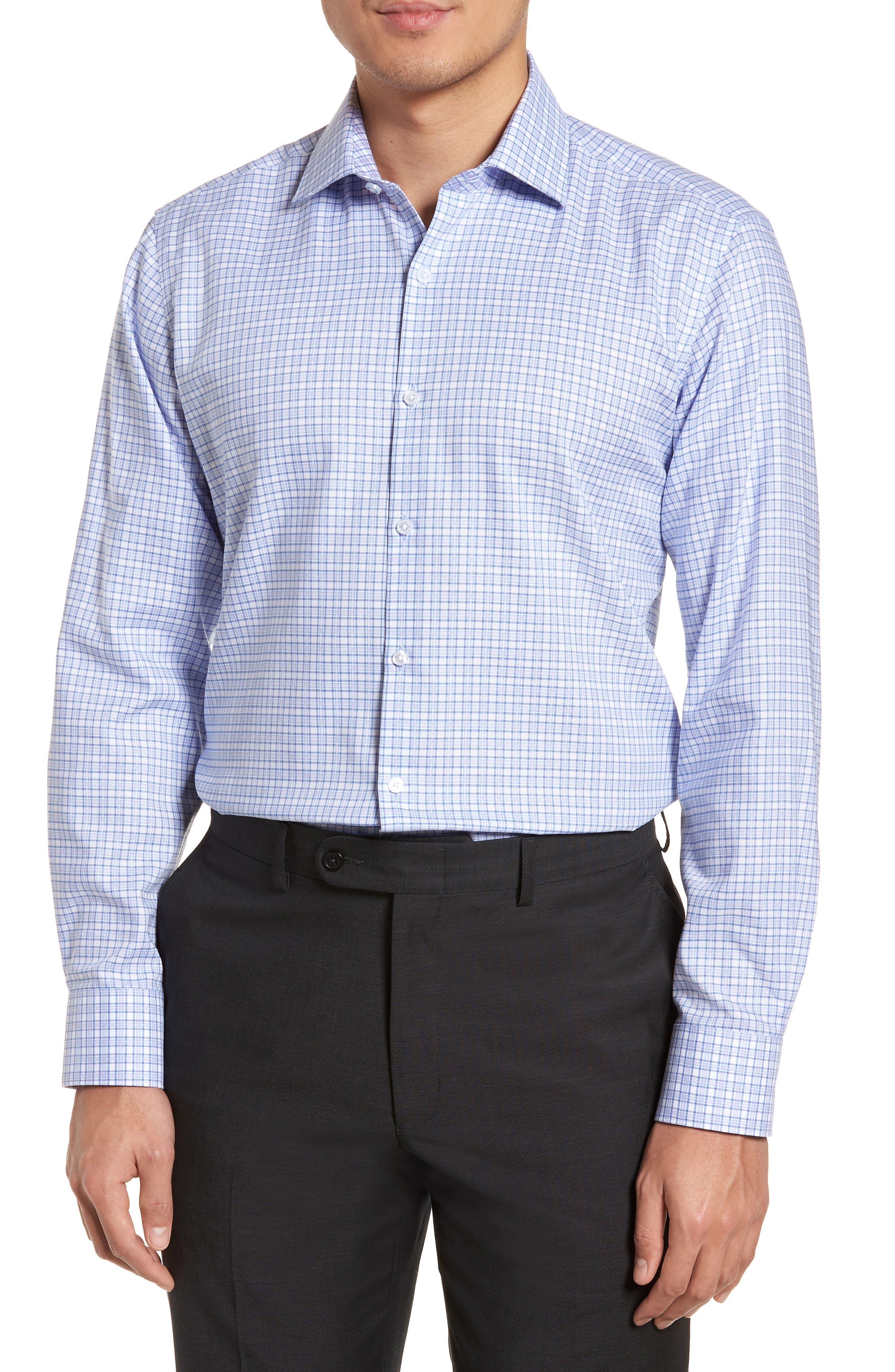Nas Trim Fit Plaid Dress Shirt,                             Main thumbnail 1, color,                             Royal