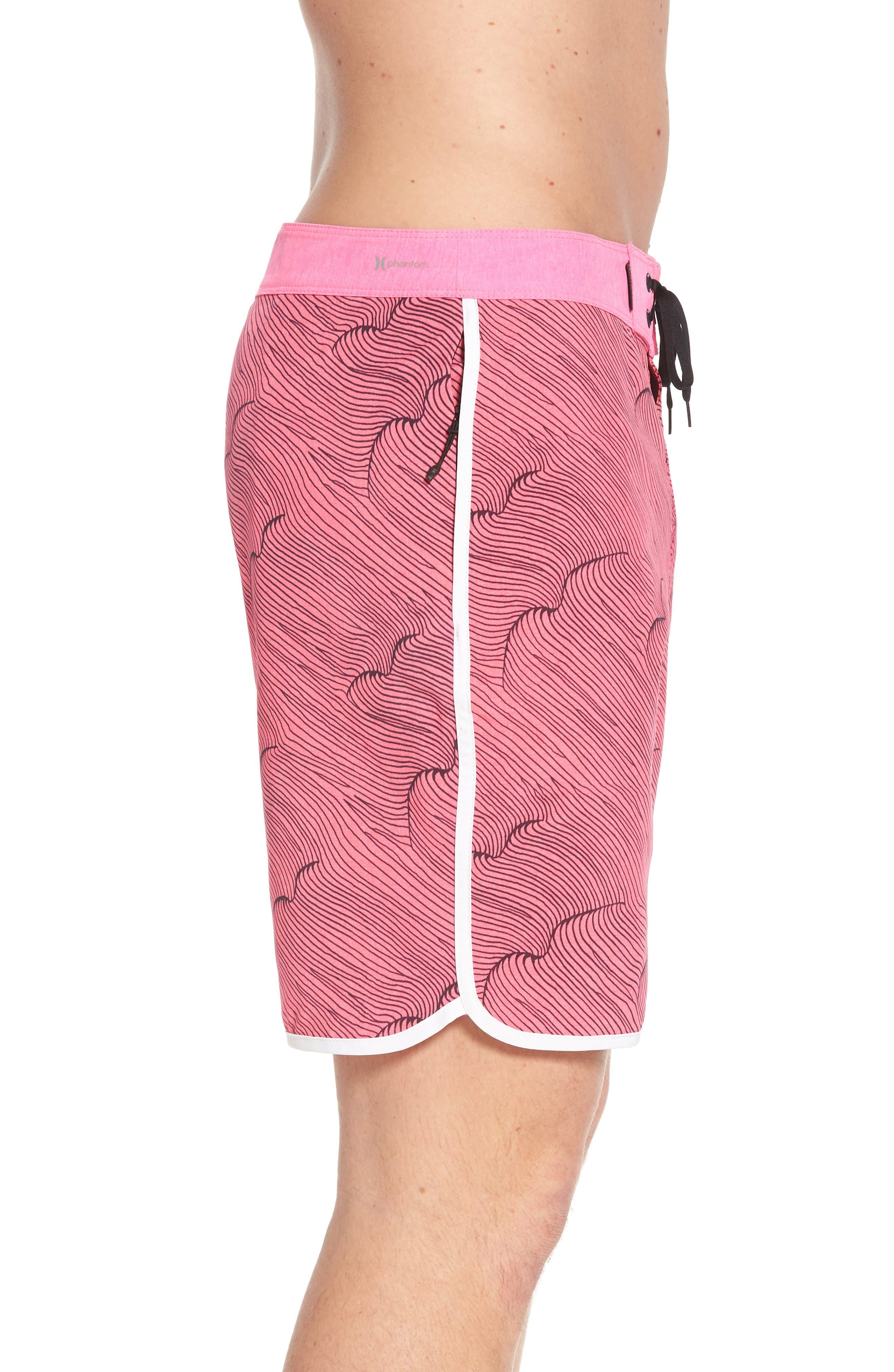 Phantom Thalia Street Board Shorts,                             Alternate thumbnail 3, color,                             Hyper Pink/Black