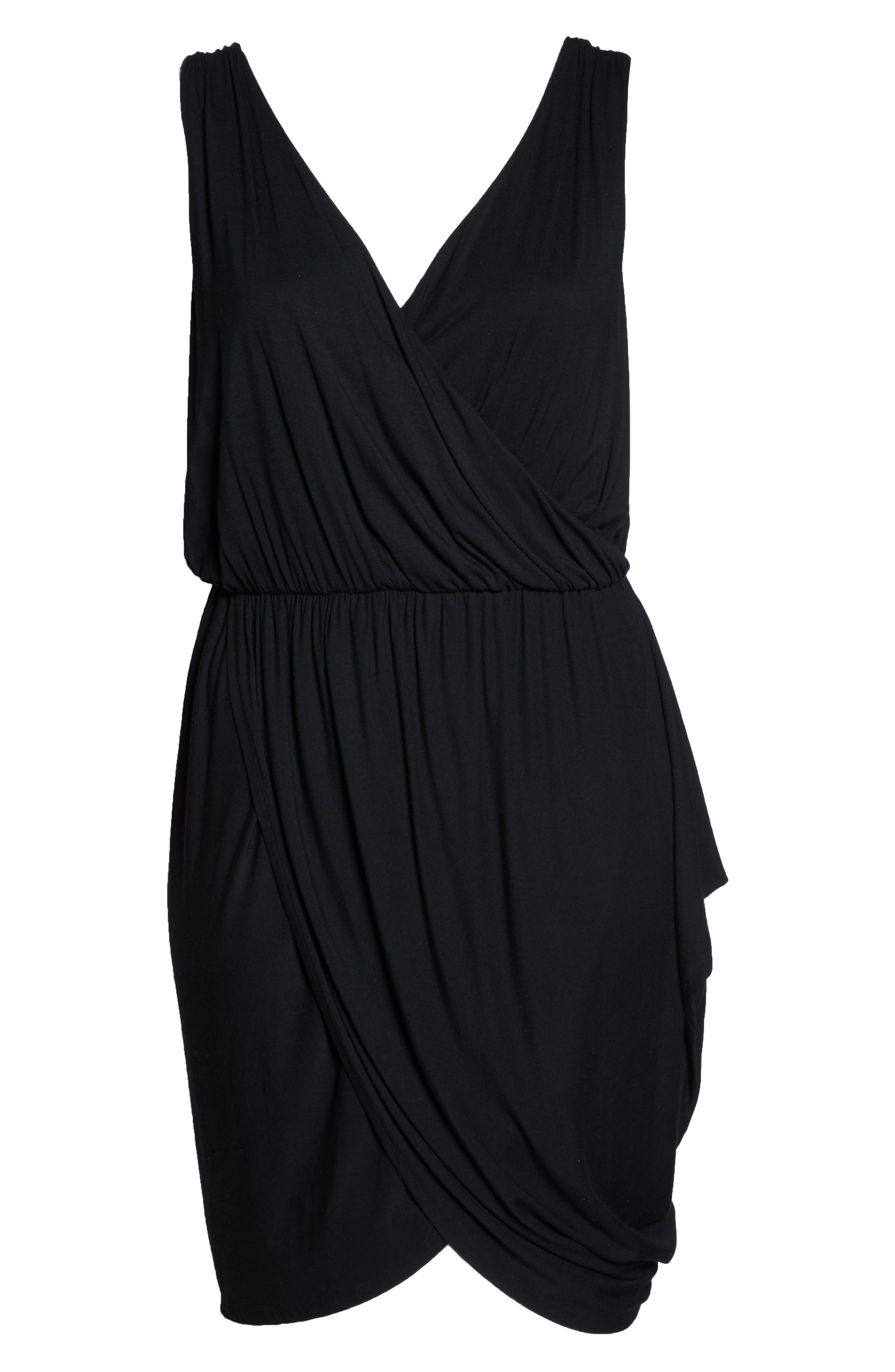 Drape Surplice Jersey Midi Dress,                             Alternate thumbnail 6, color,                             Black