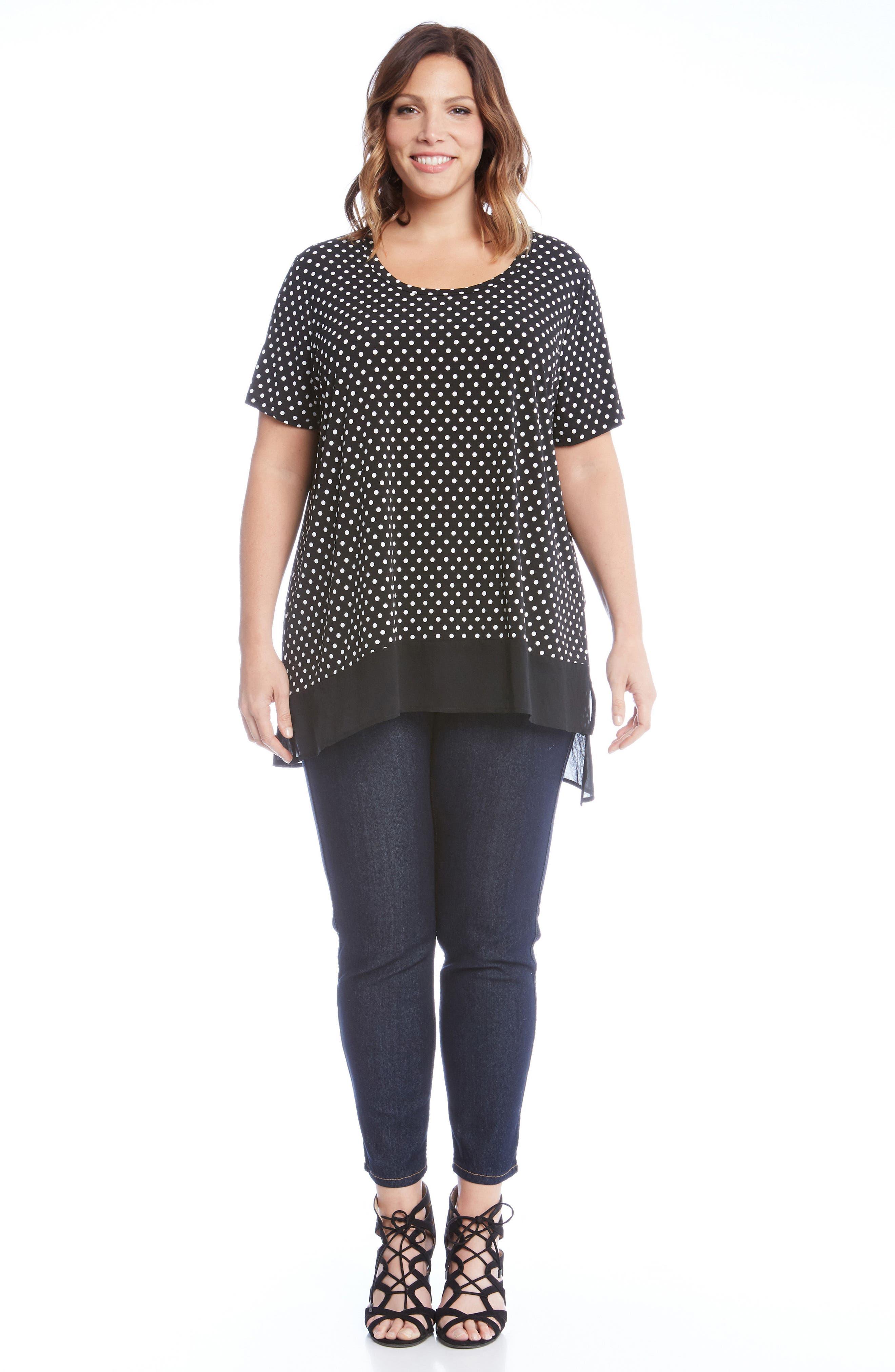 Alternate Image 3  - Karen Kane Polka Dot Sheer Asymmetrical Hem Top (Plus Size)