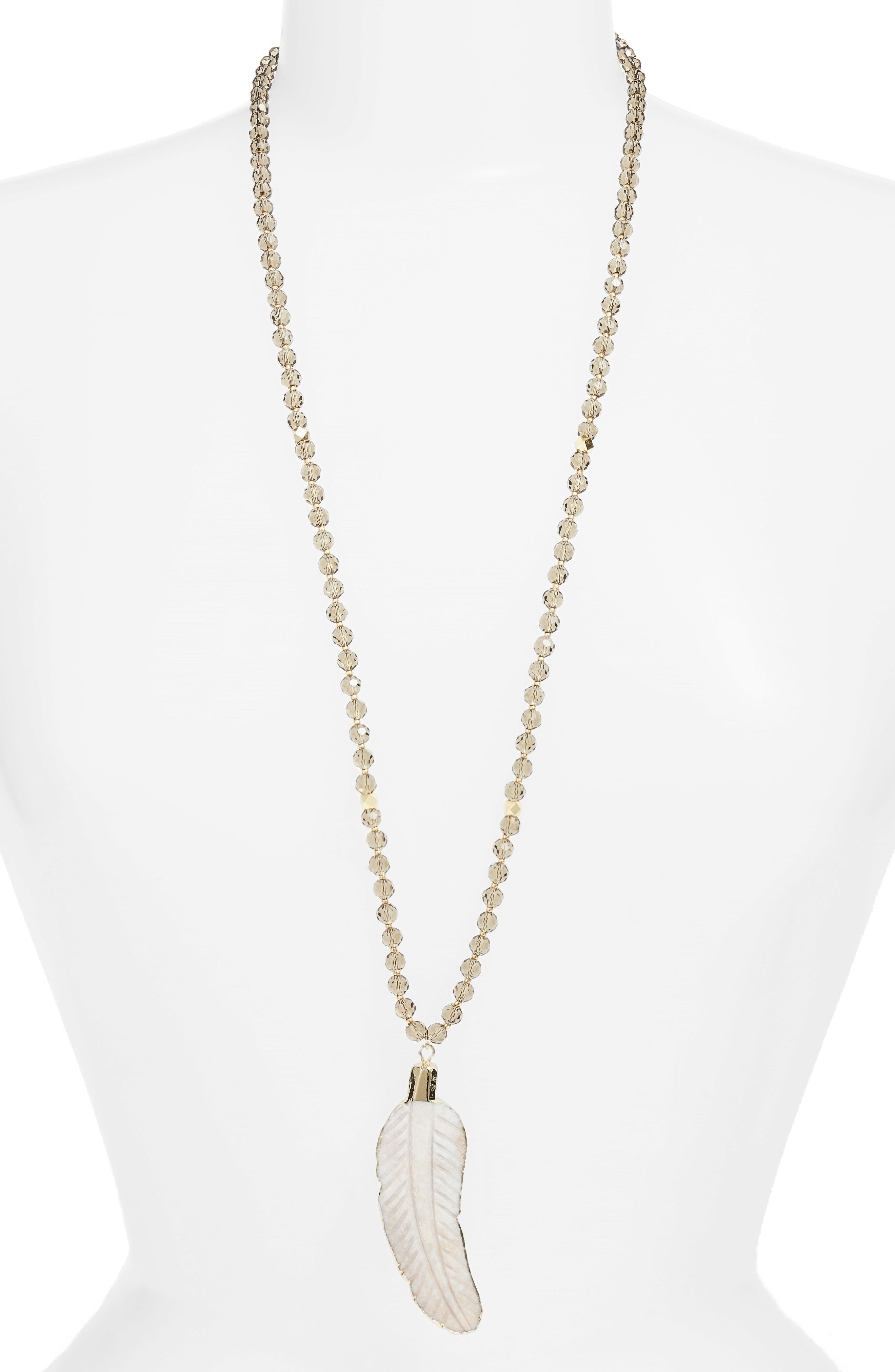 Love's Affect Ivy Pendant Crystal Necklace,                         Main,                         color, Grey