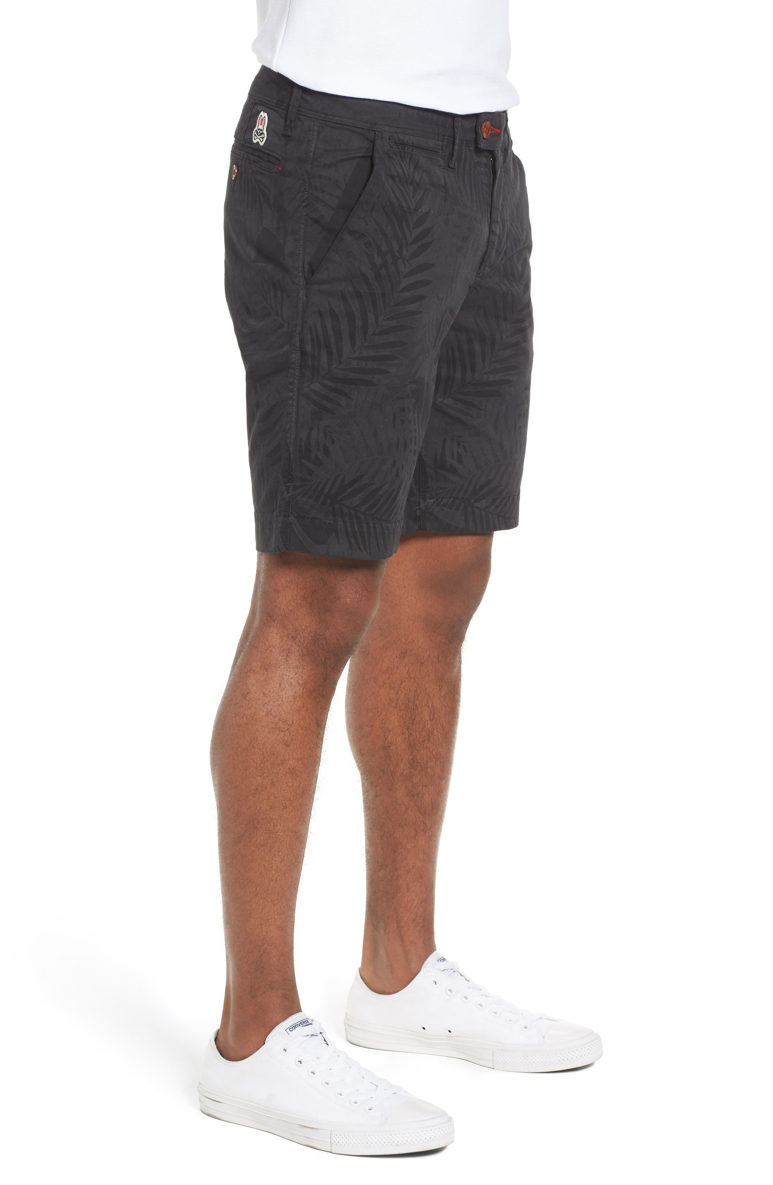 Psycho Bunny Tropical Shorts,                             Alternate thumbnail 3, color,                             Black