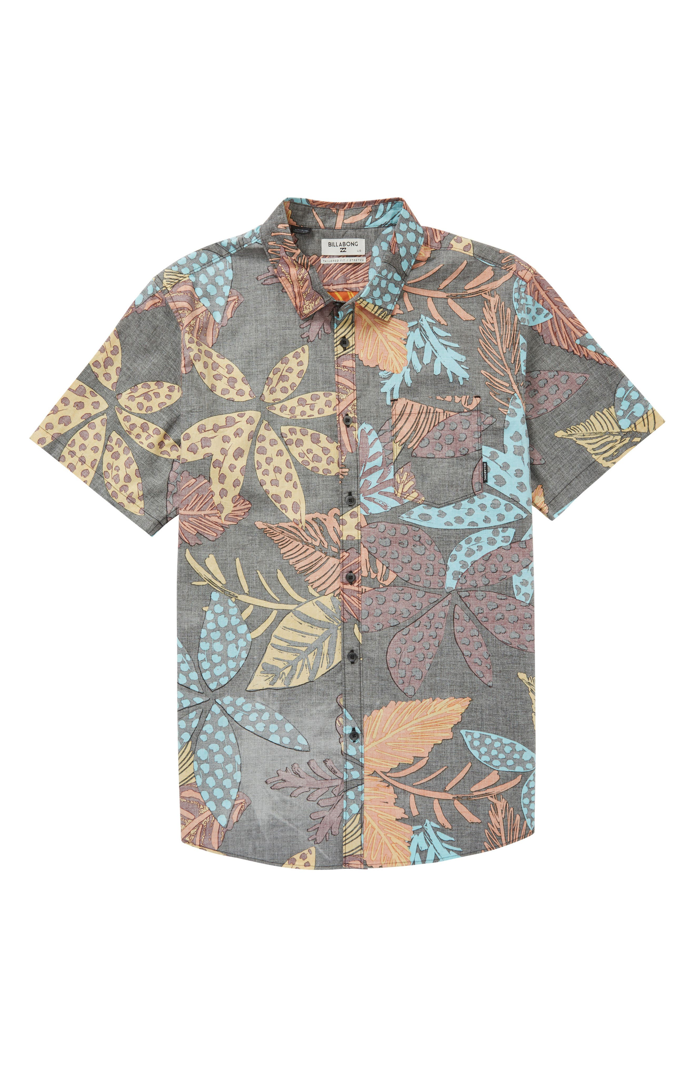 Floral Woven Shirt,                         Main,                         color, Midnight