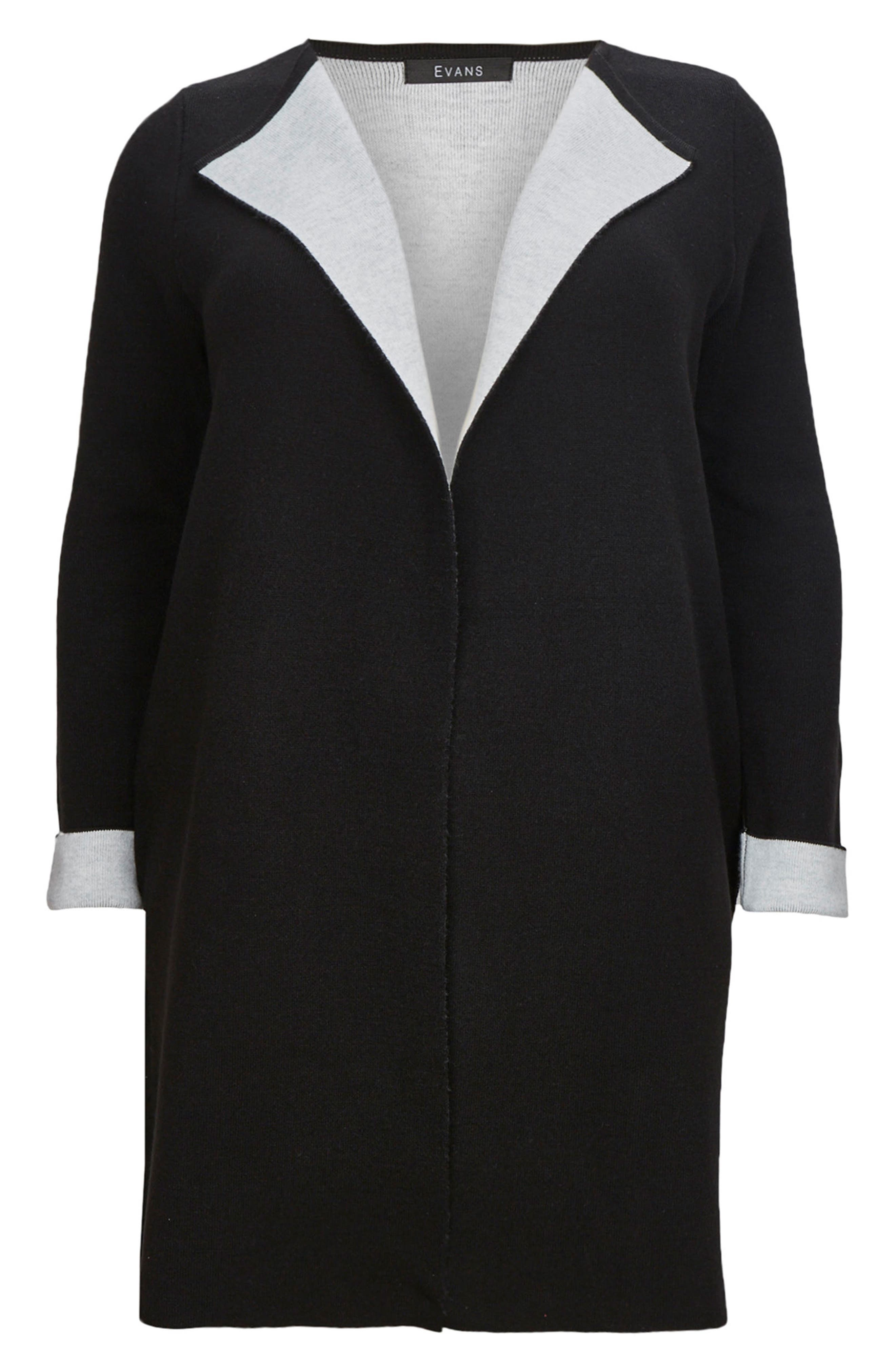Contrast Cardigan Coat,                             Alternate thumbnail 3, color,                             Black