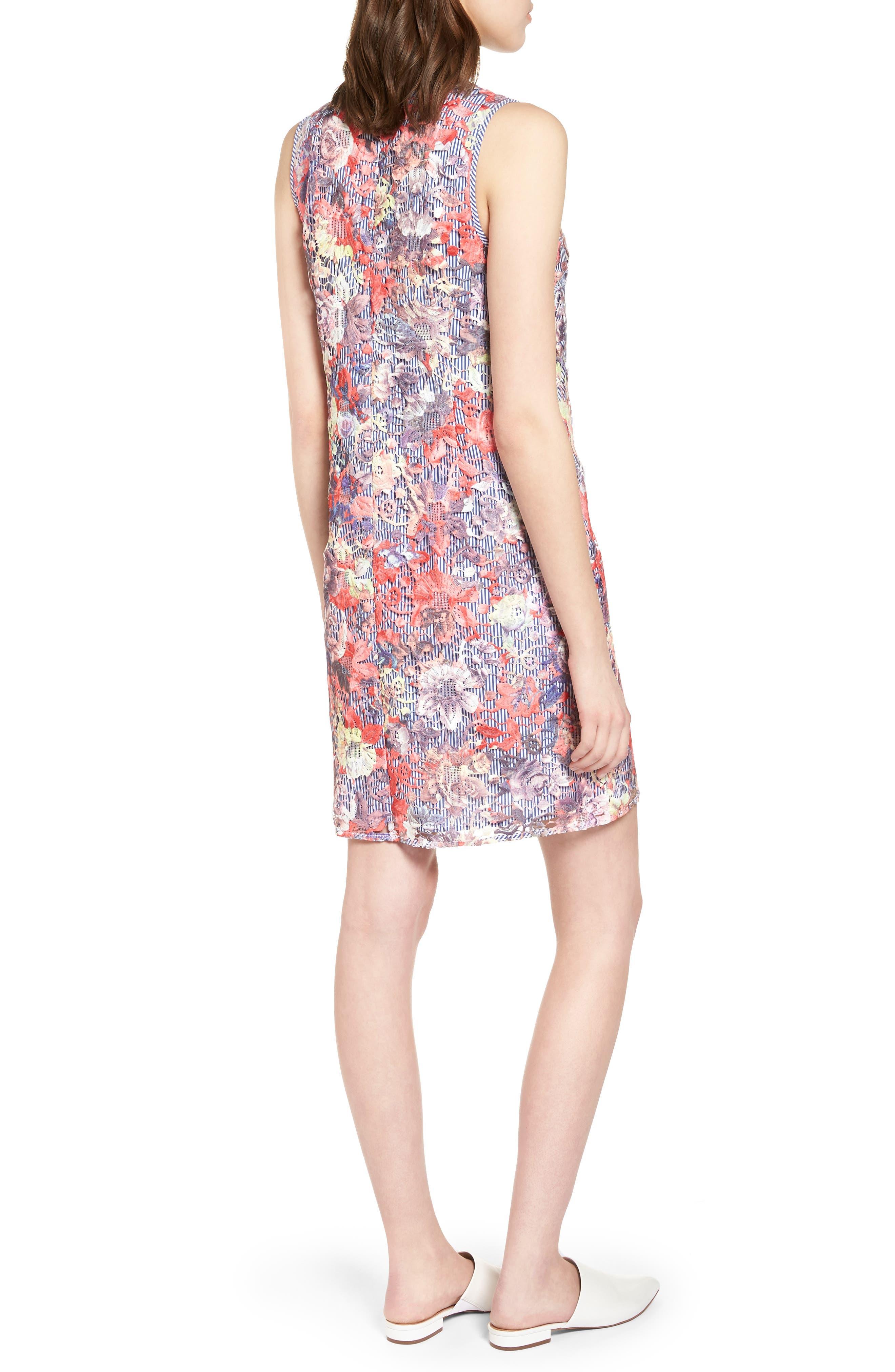 Lace Pinstripe Tank Dress,                             Alternate thumbnail 2, color,                             Coral Lace Pattern