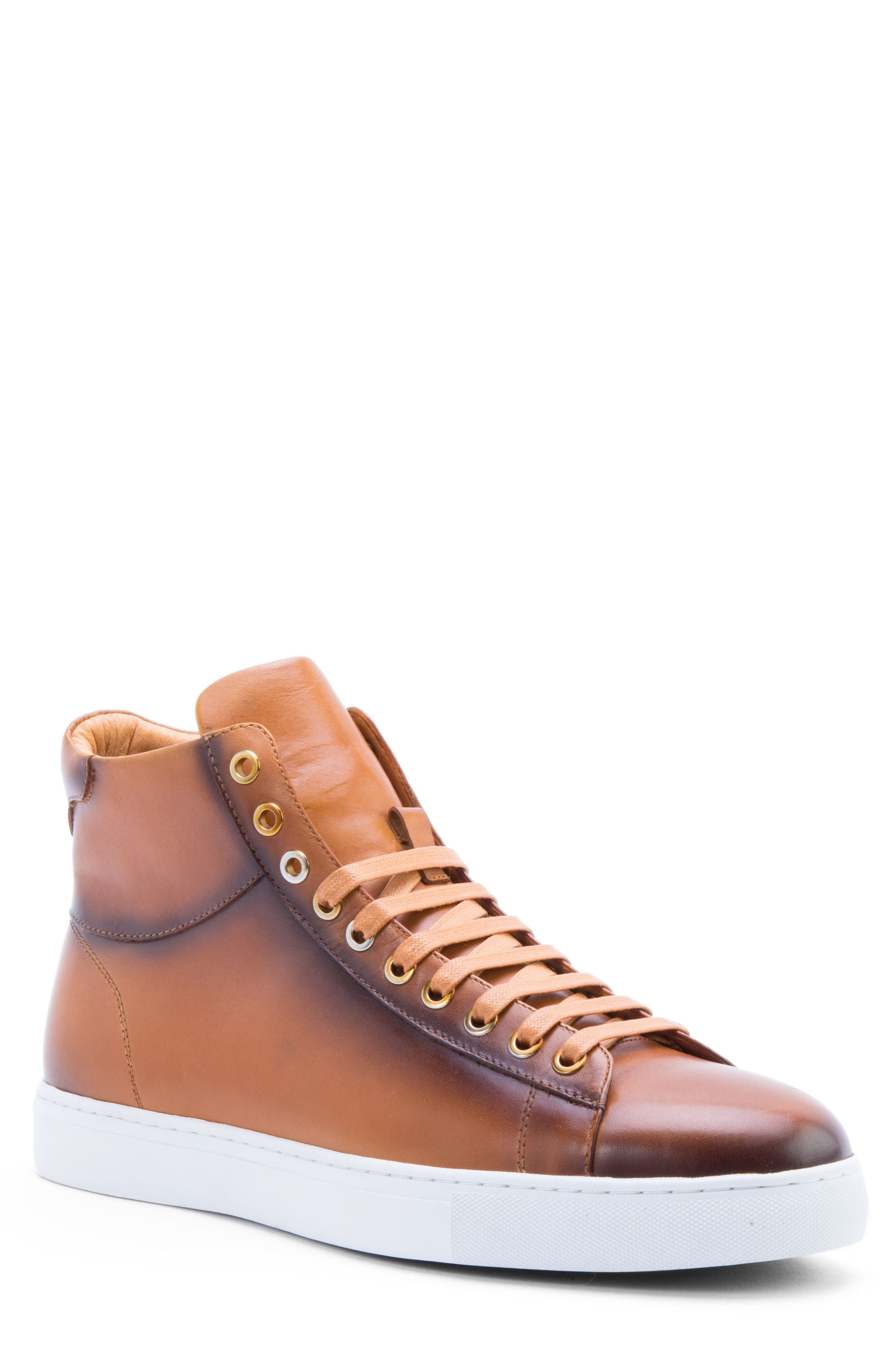 Spinback High Top Sneaker,                         Main,                         color, Cognac Leather