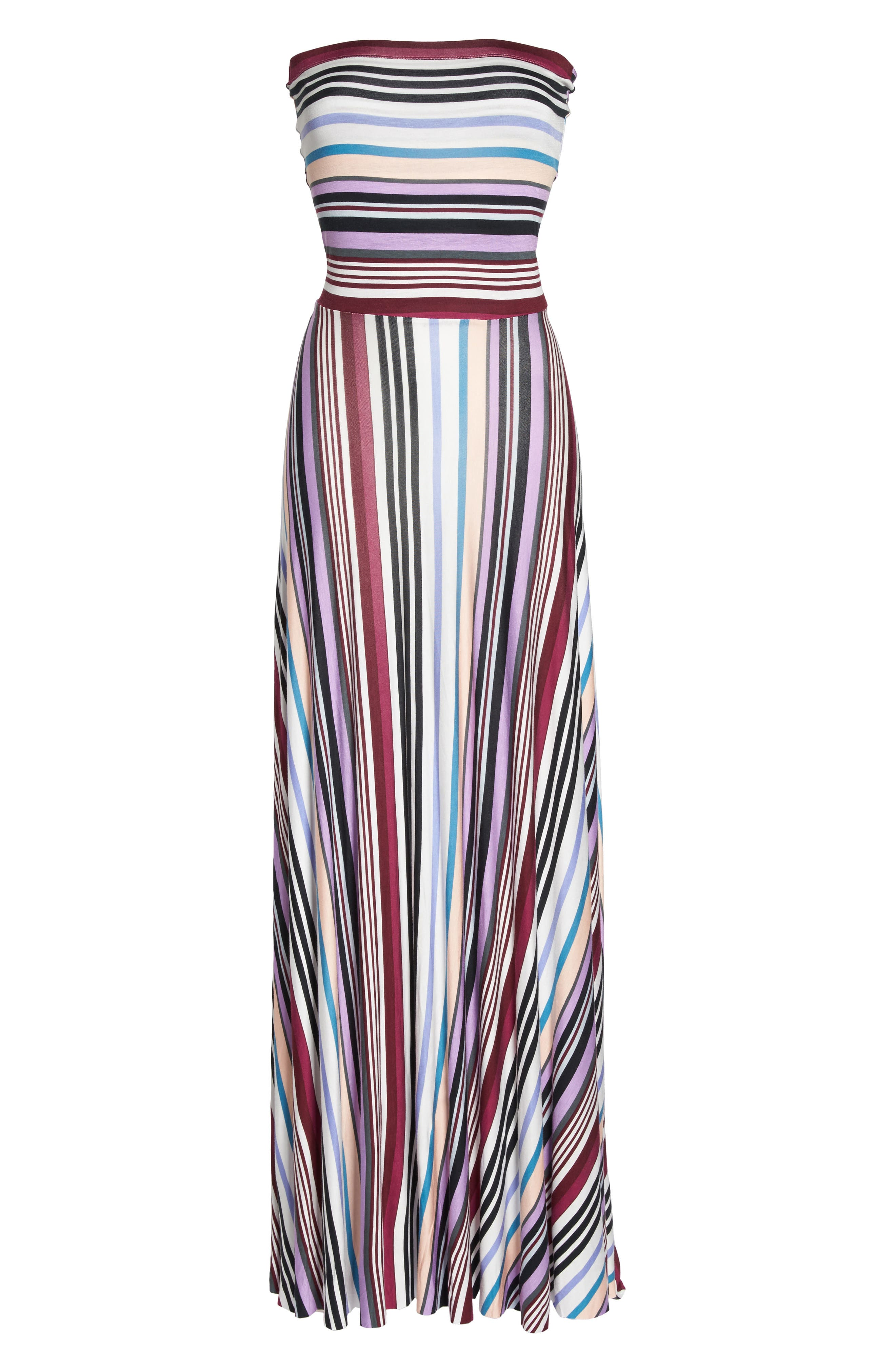 Clemette Strapless Maxi Dress,                             Alternate thumbnail 7, color,                             Purple Multi Stripe