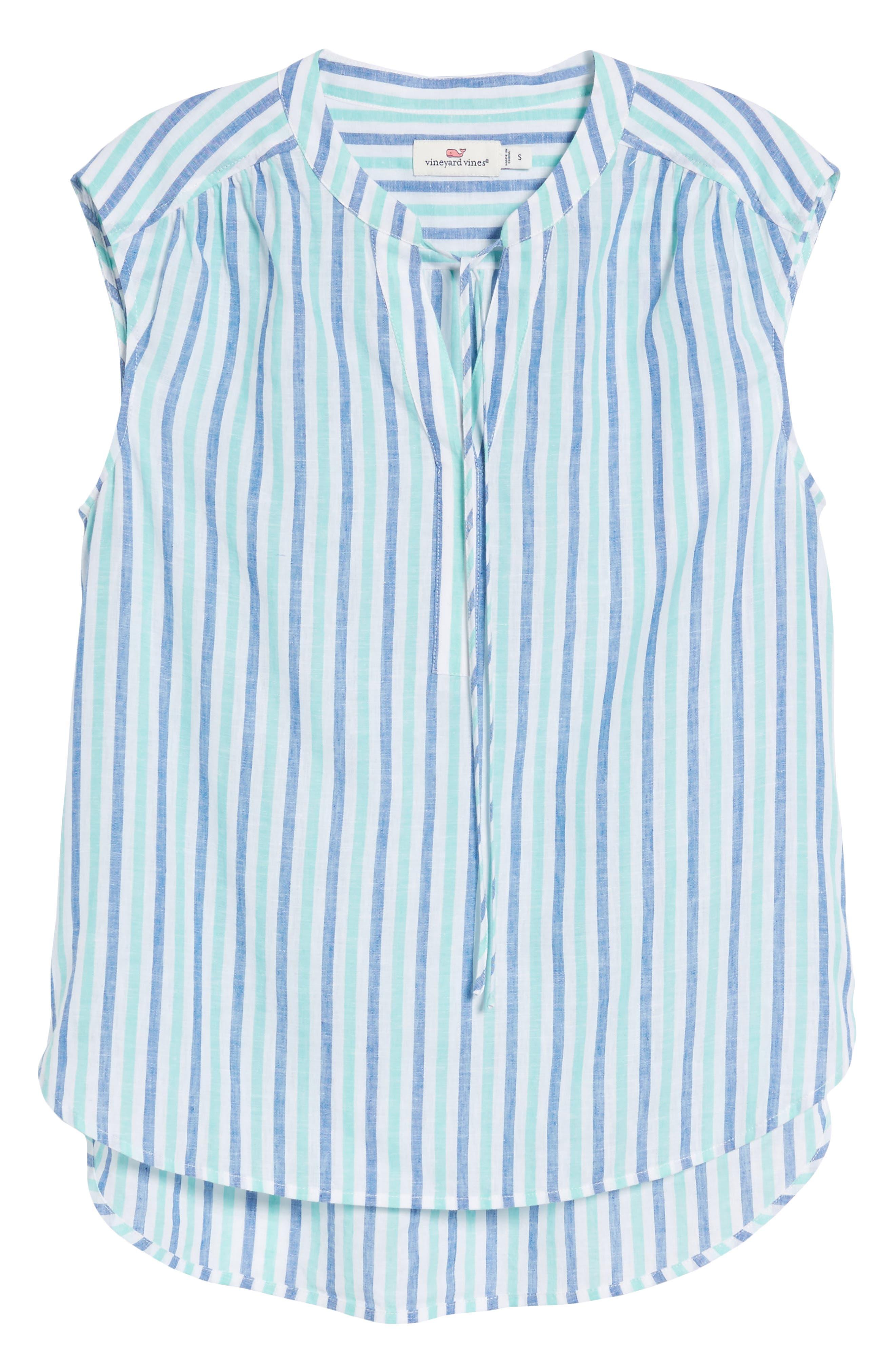 Hope Bay Linen Cotton Stripe Top,                             Alternate thumbnail 7, color,                             Capri Blue