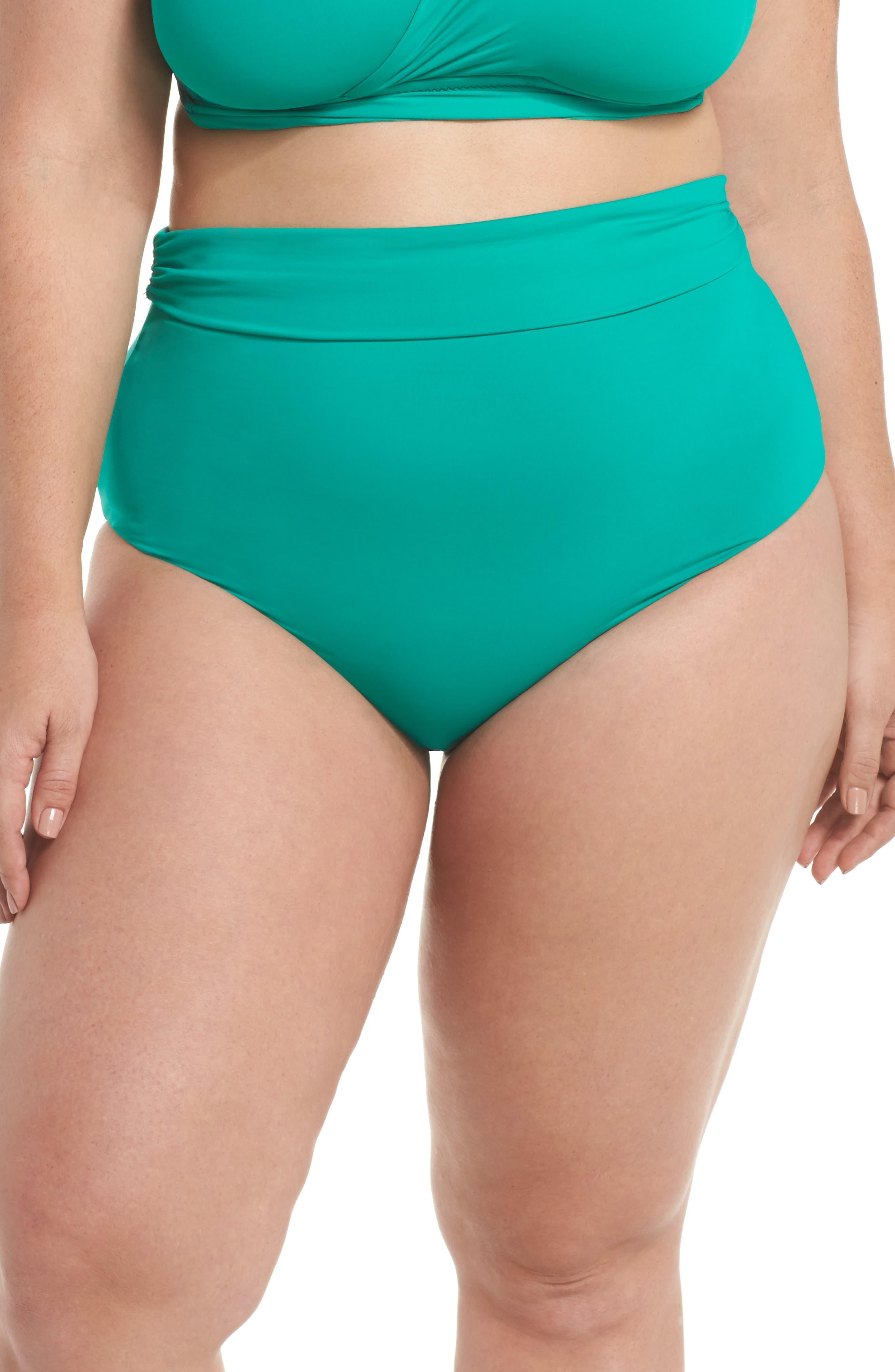 Color Splash High Waist Bikini Bottoms,                             Main thumbnail 1, color,                             Emerald